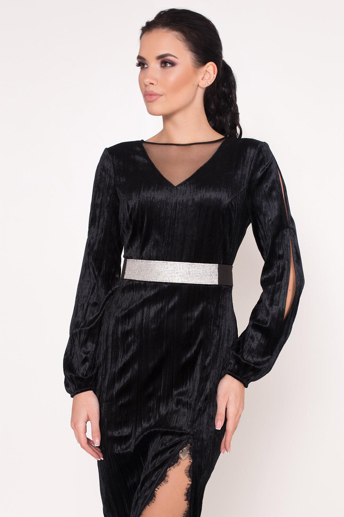 Велюровое платье-миди длины Блек 8652 АРТ. 44974 Цвет: Черный - фото 8, интернет магазин tm-modus.ru