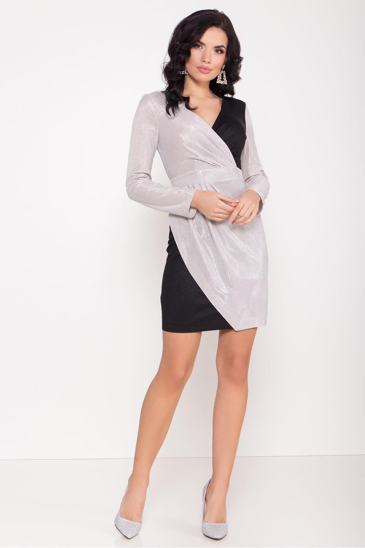 Контрастное двухцветное платье Блеск 8670 АРТ. 44988 Цвет: Серебро/черный - фото 1, интернет магазин tm-modus.ru