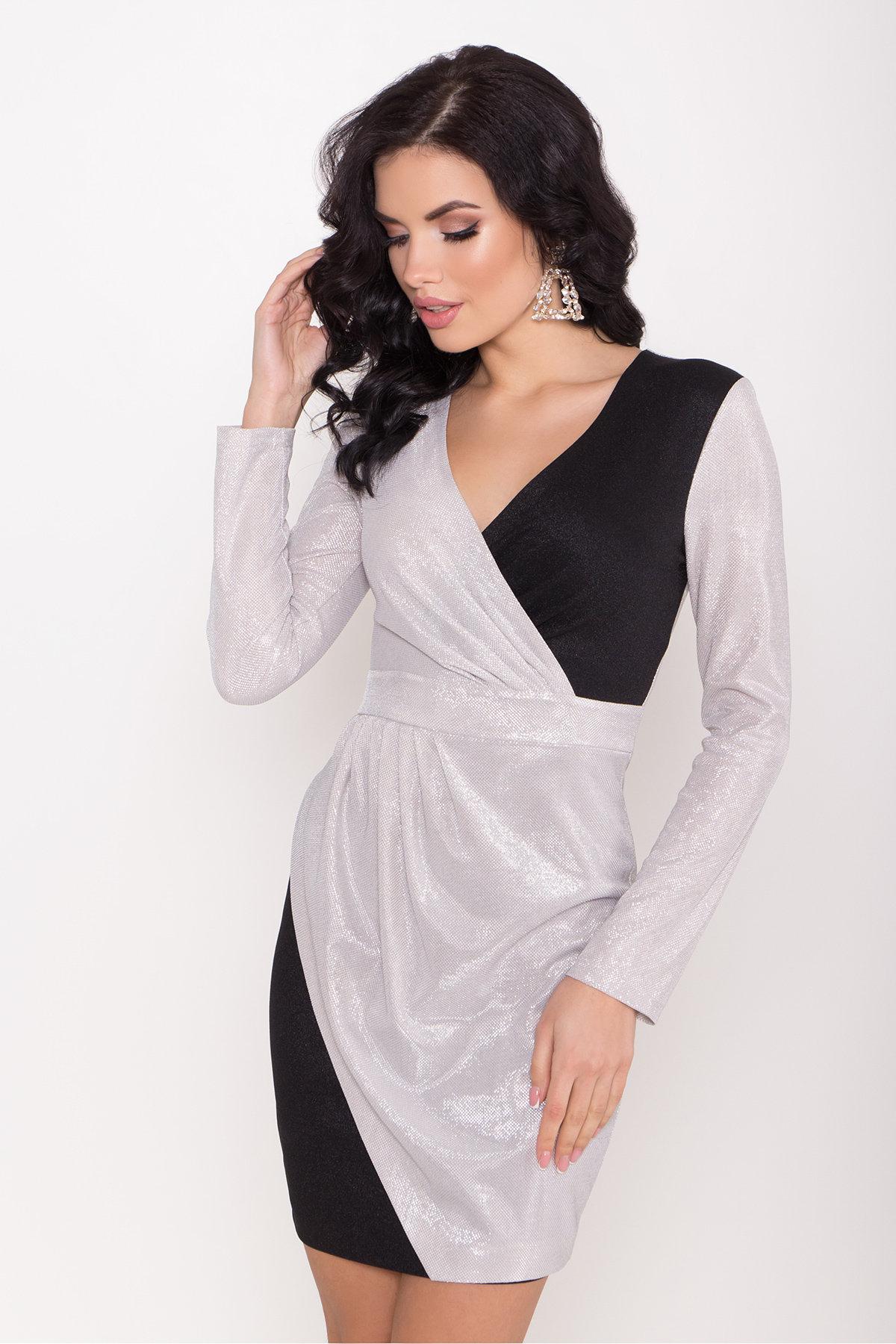 Контрастное двухцветное платье Блеск 8670 АРТ. 44988 Цвет: Серебро/черный - фото 3, интернет магазин tm-modus.ru