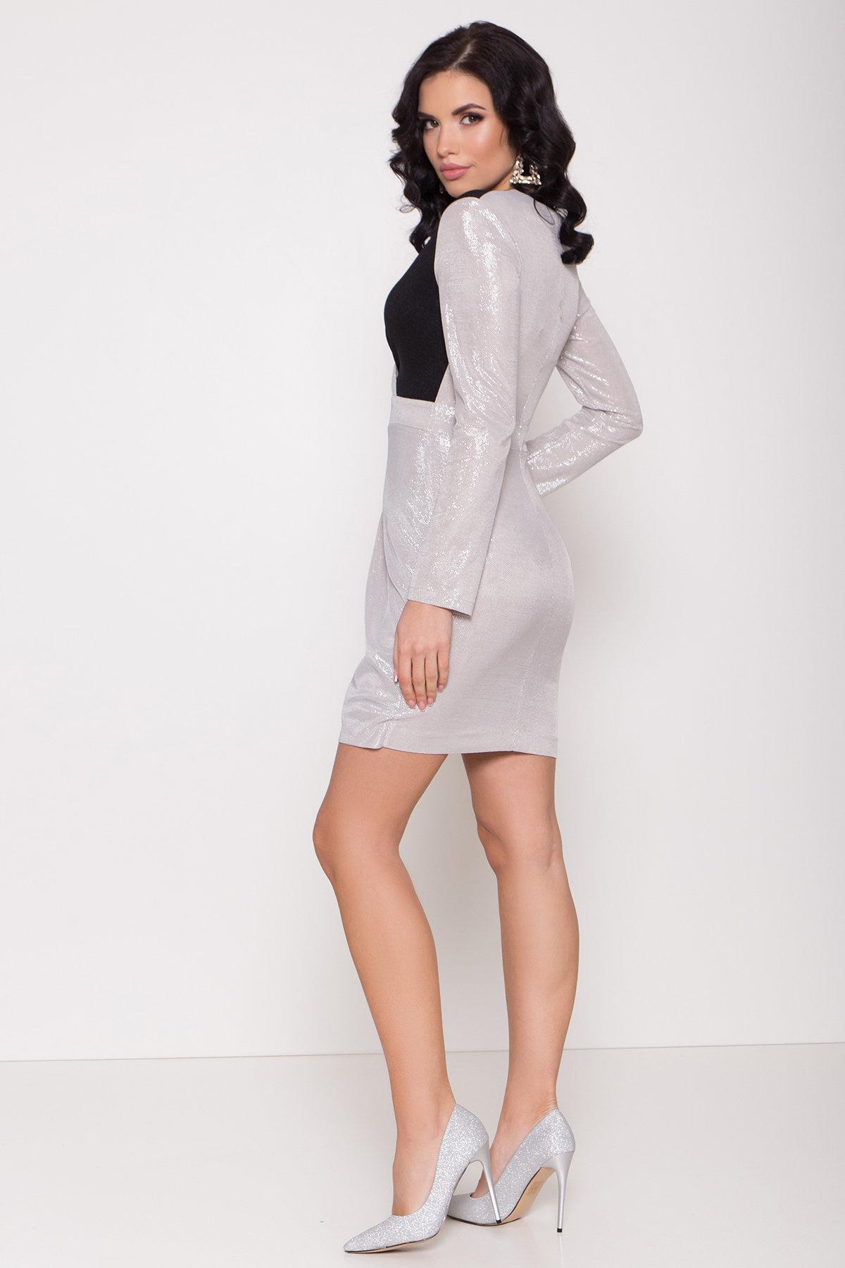 Контрастное двухцветное платье Блеск 8670 Цвет: Серебро/черный