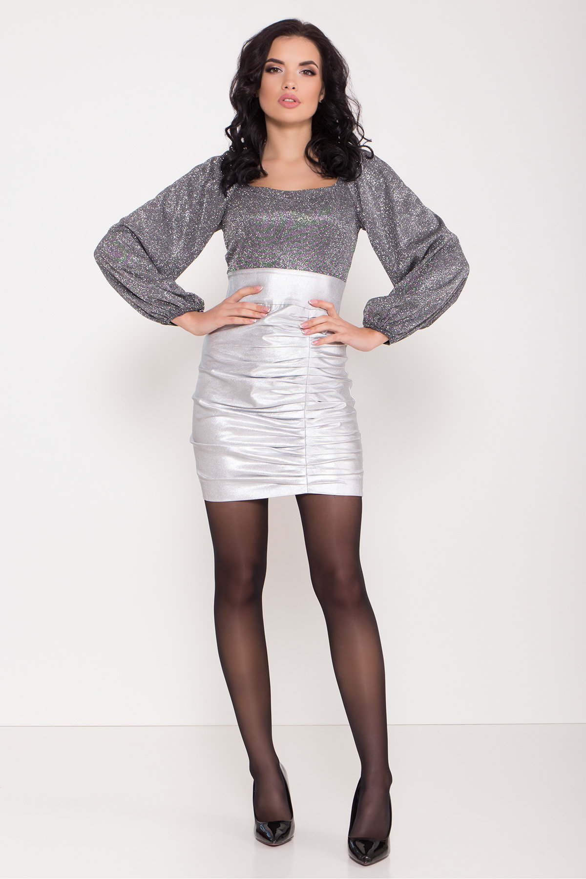 Платье с драпировкой Линси 8534 АРТ. 44973 Цвет: Серебро 2 - фото 1, интернет магазин tm-modus.ru