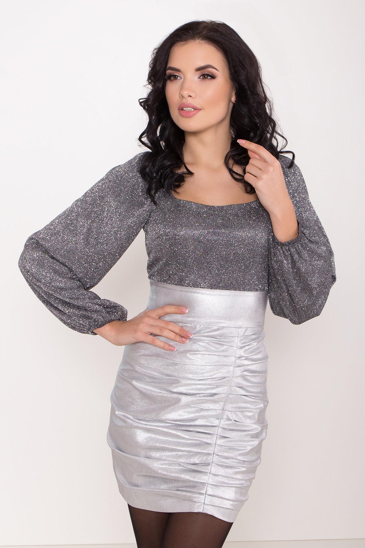 Платье с драпировкой Линси 8534 АРТ. 44973 Цвет: Серебро 2 - фото 3, интернет магазин tm-modus.ru