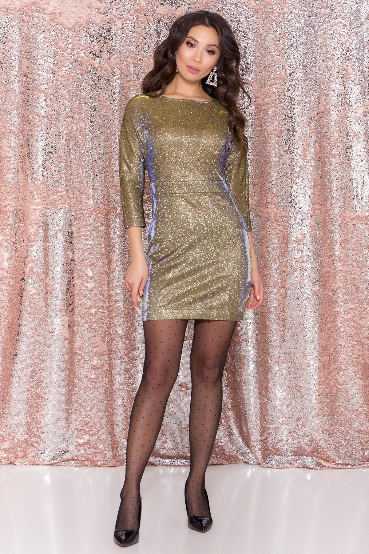 Купить платья оптом Украина Платье-хамелеон из трикотажа с люрексом Инглот 8428