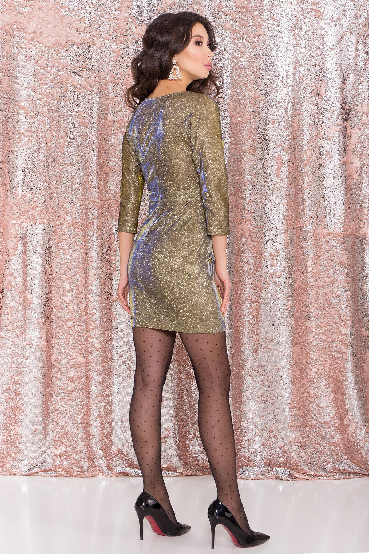 Платье-хамелеон из трикотажа с люрексом Инглот 8428 АРТ. 45009 Цвет: Золото/электрик - фото 2, интернет магазин tm-modus.ru