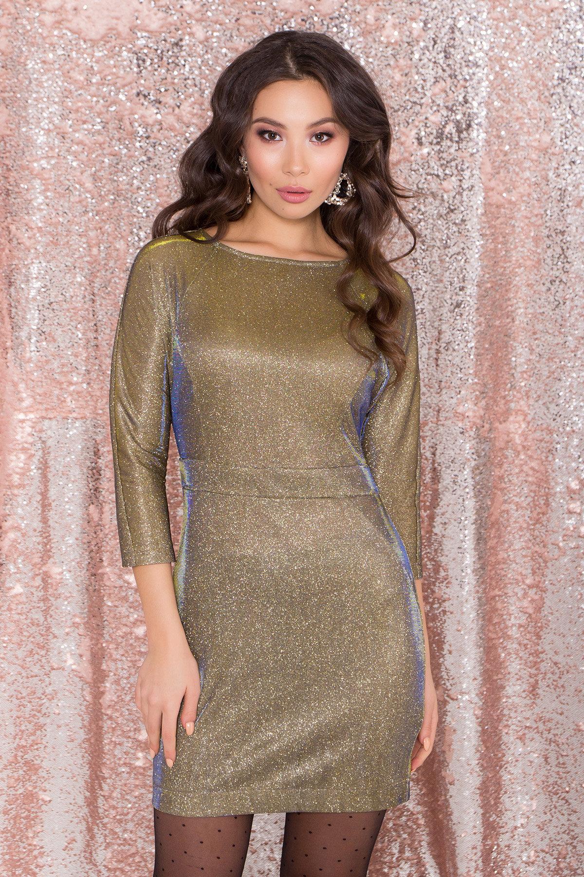 Платье-хамелеон из трикотажа с люрексом Инглот 8428 АРТ. 45009 Цвет: Золото/электрик - фото 3, интернет магазин tm-modus.ru
