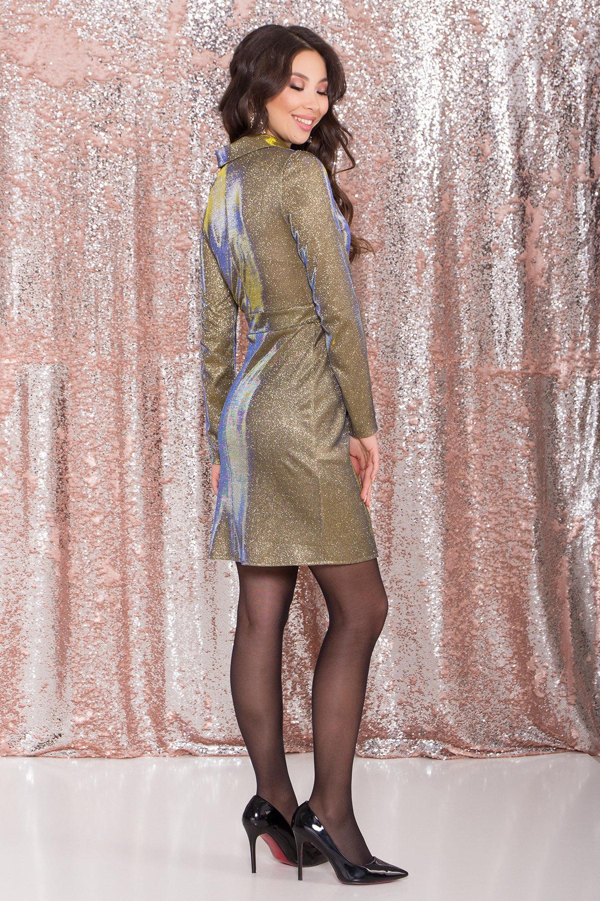 Платье Шати 8686 АРТ. 45015 Цвет: Золото/электрик - фото 6, интернет магазин tm-modus.ru