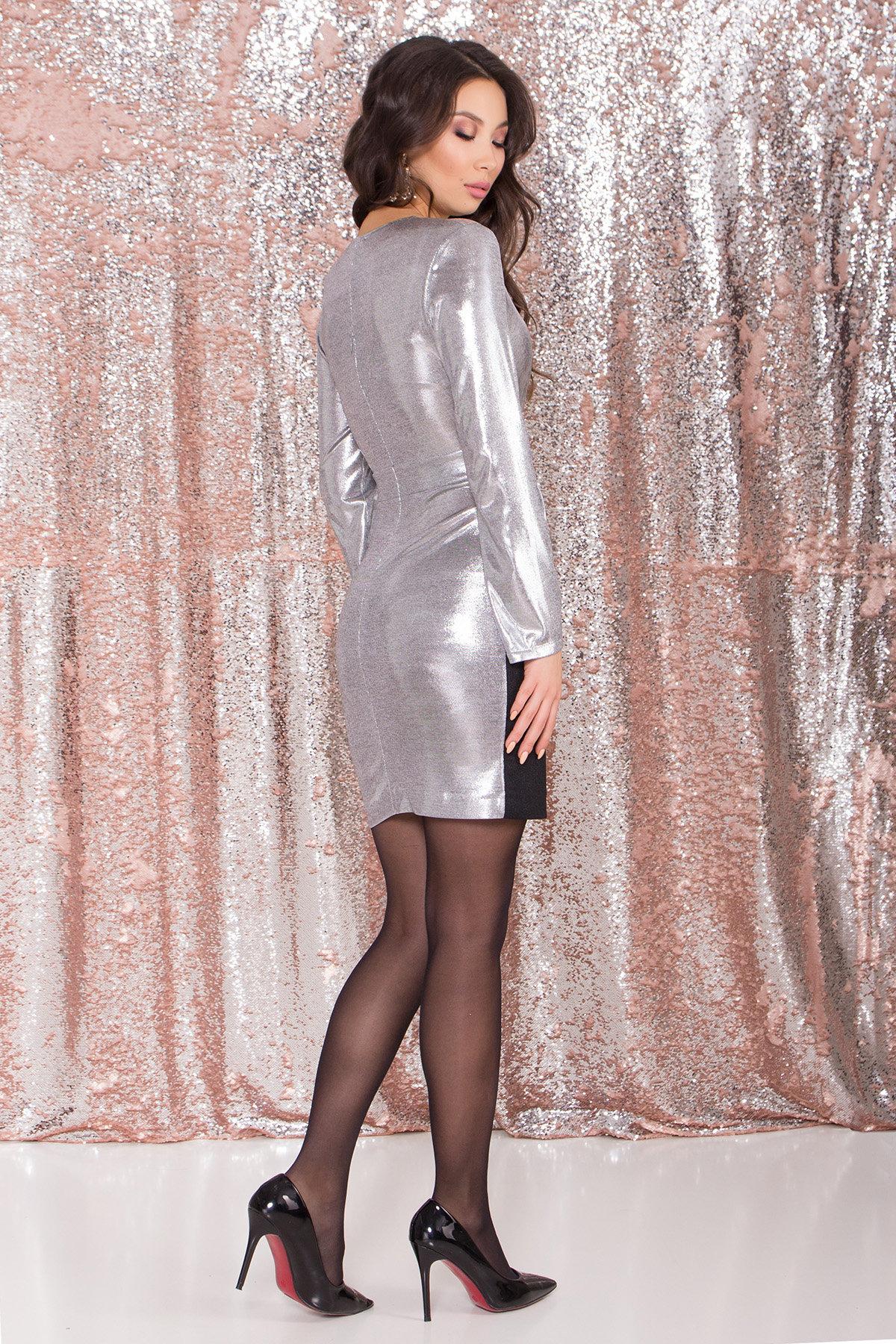 Контрастное двухцветное платье Блеск 8679 АРТ. 45004 Цвет: Серый/серебро - фото 6, интернет магазин tm-modus.ru