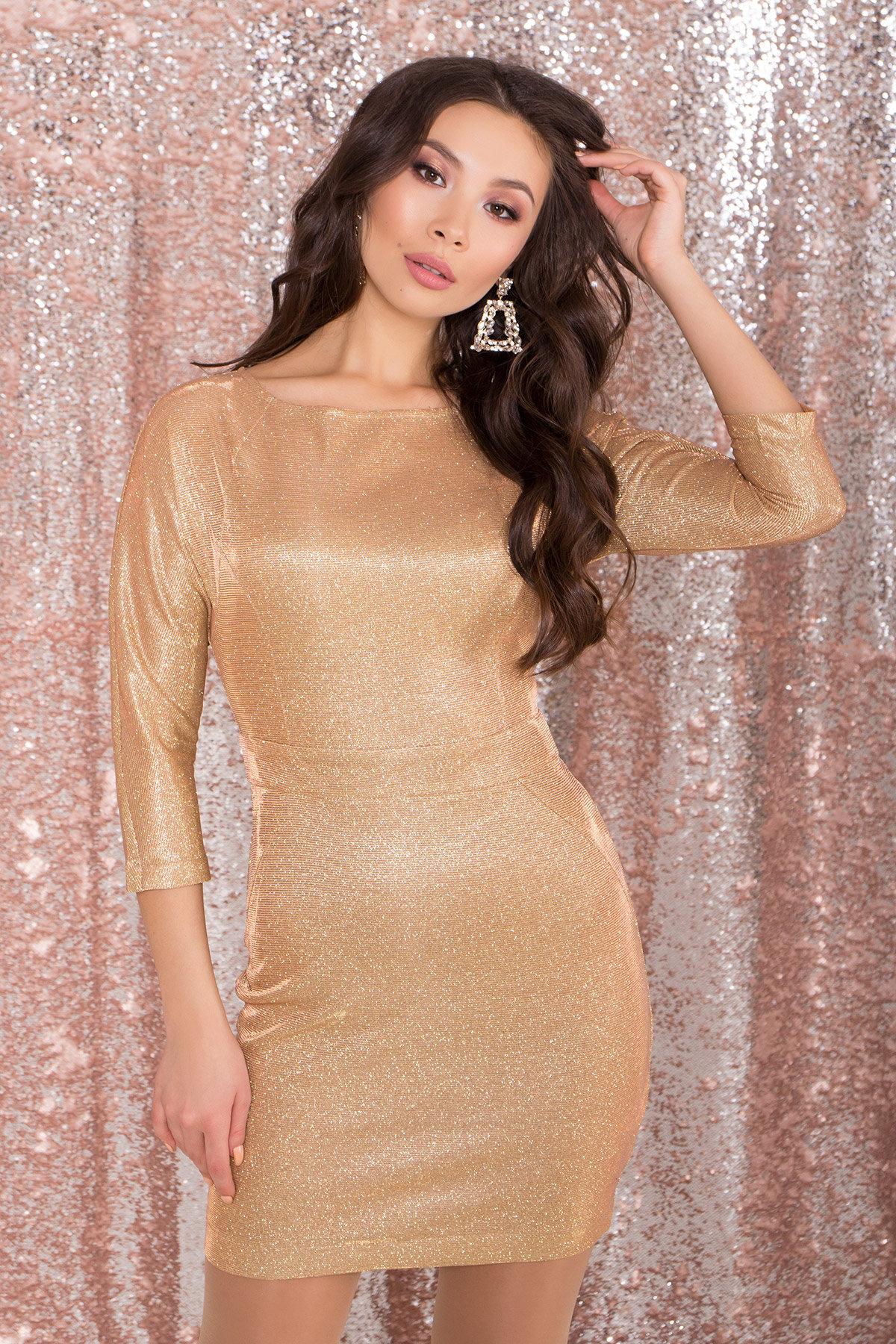 Платье-хамелеон из трикотажа с люрексом Инглот 8428 АРТ. 45008 Цвет: Золото/розовый - фото 4, интернет магазин tm-modus.ru
