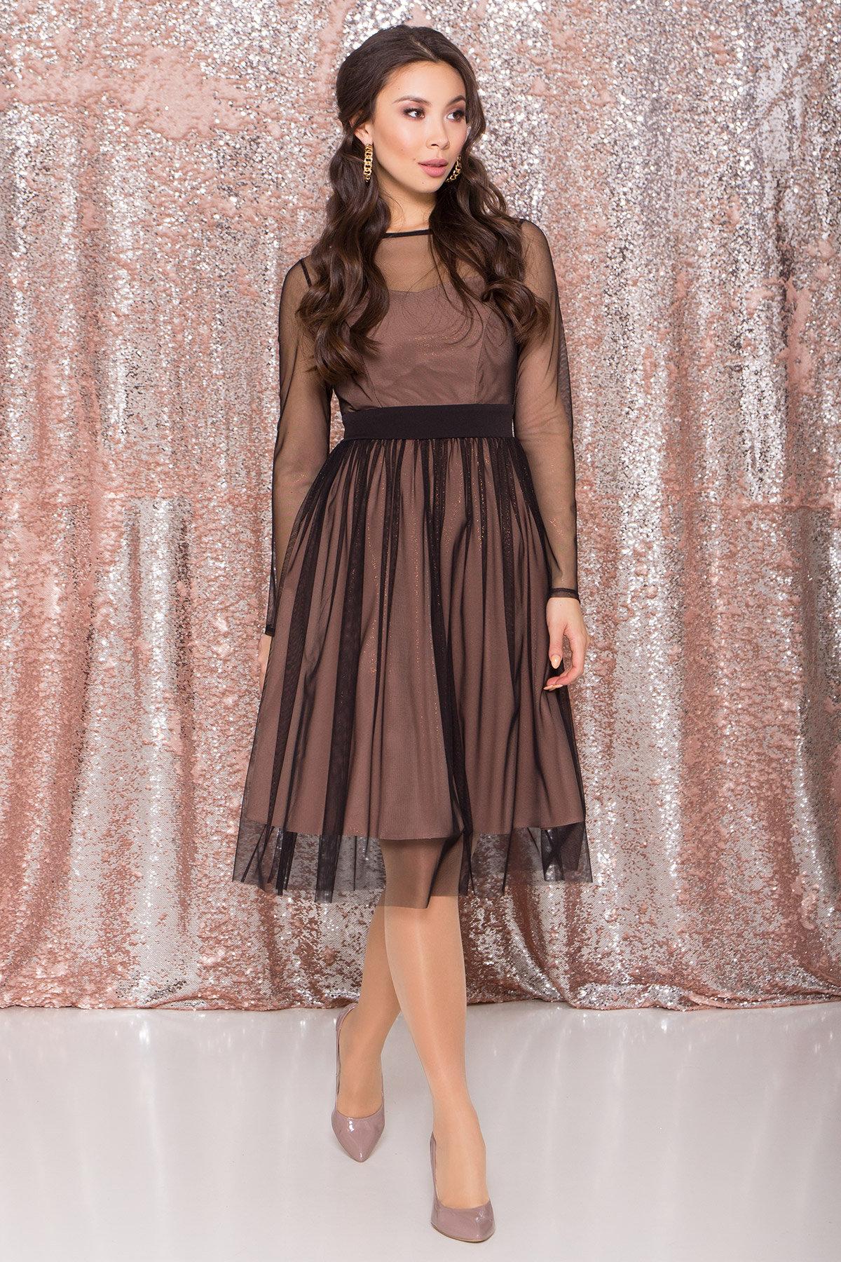 Платье миди длины с юбкой солнце-клеш Роял 8681 АРТ. 45006 Цвет: Черный/золото - фото 3, интернет магазин tm-modus.ru