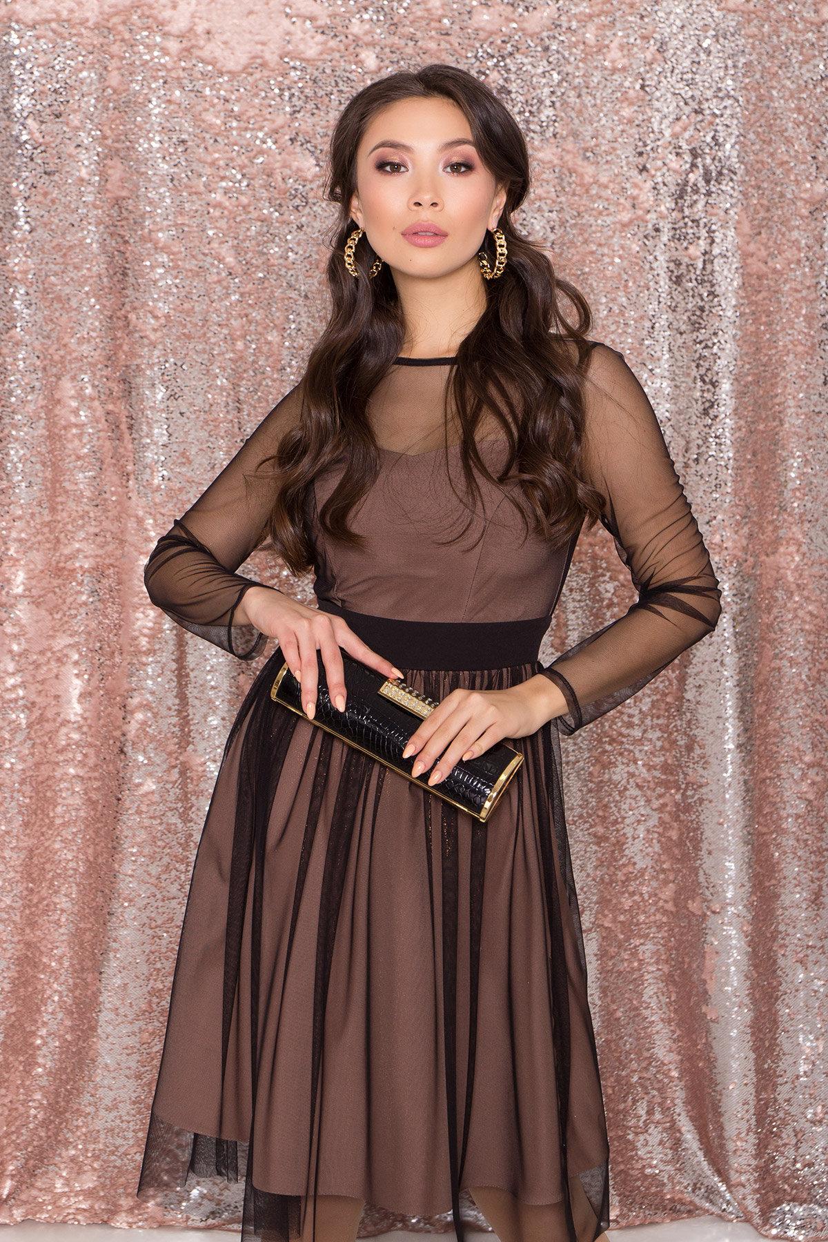 Платье миди длины с юбкой солнце-клеш Роял 8681 АРТ. 45006 Цвет: Черный/золото - фото 7, интернет магазин tm-modus.ru