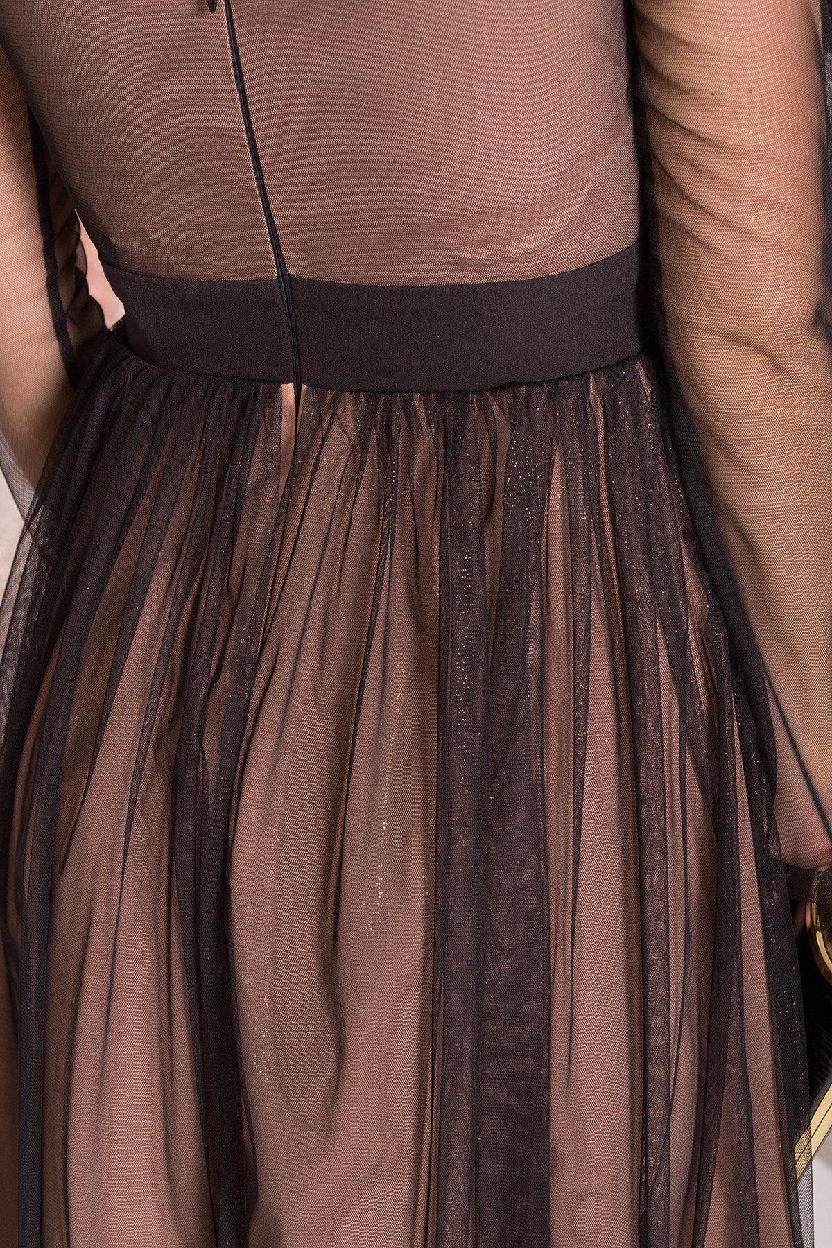 Платье миди длины с юбкой солнце-клеш Роял 8681 АРТ. 45006 Цвет: Черный/золото - фото 11, интернет магазин tm-modus.ru