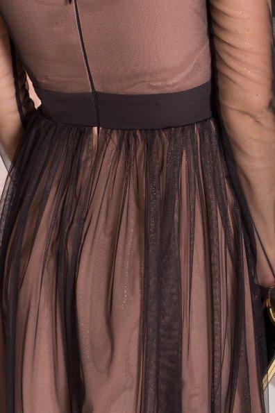 Платье миди длины с юбкой солнце-клеш Роял 8681 Цвет: Черный/золото