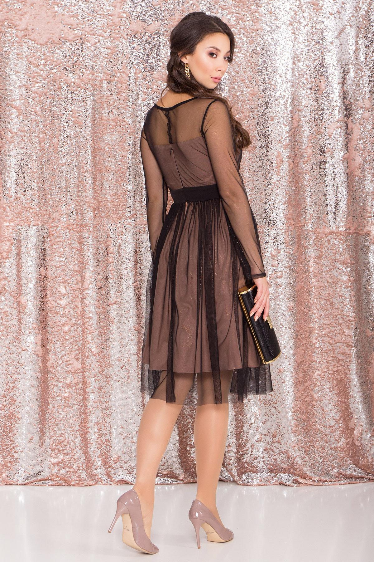 Платье миди длины с юбкой солнце-клеш Роял 8681 АРТ. 45006 Цвет: Черный/золото - фото 15, интернет магазин tm-modus.ru