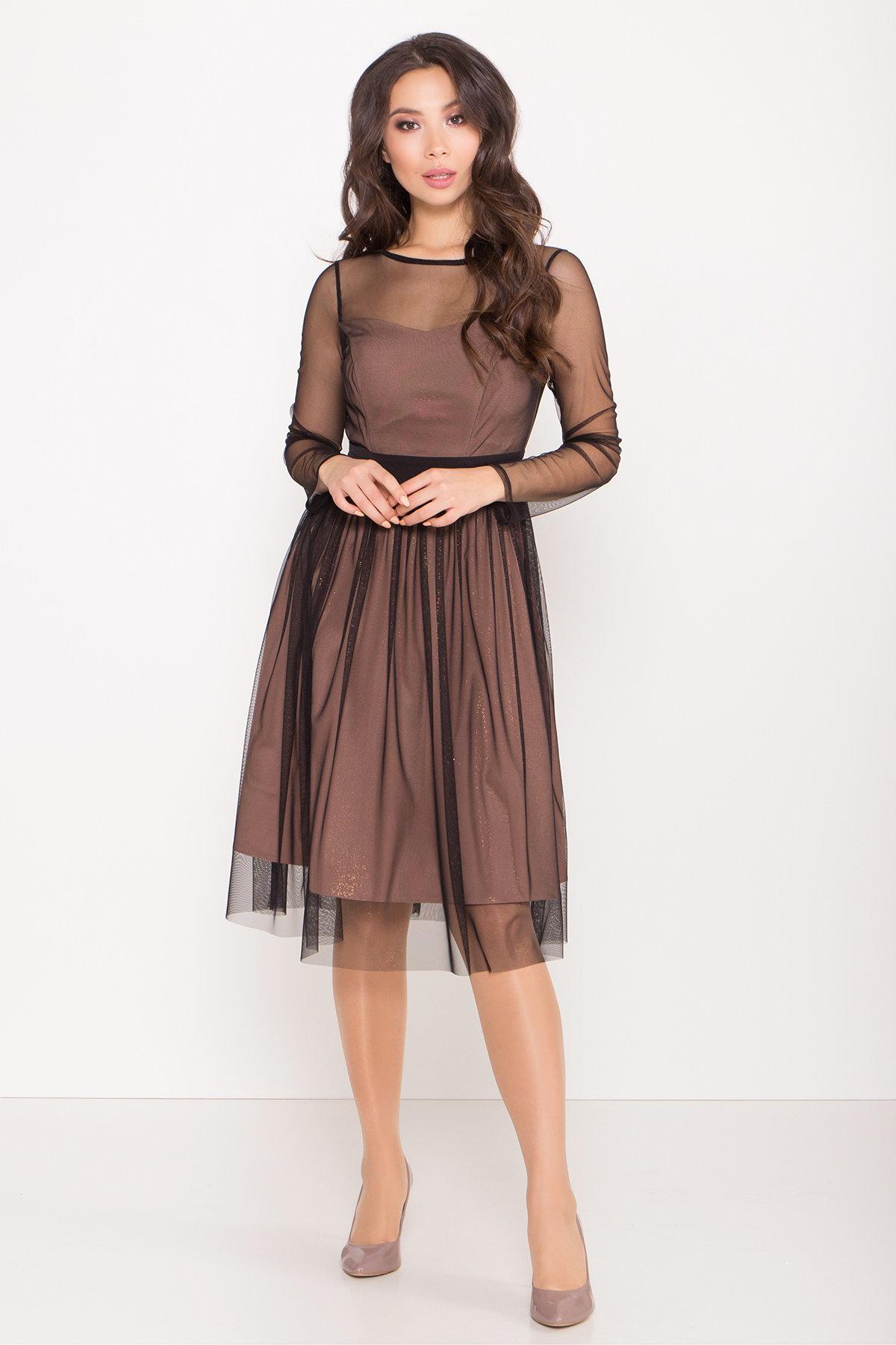 Платье миди длины с юбкой солнце-клеш Роял 8681 АРТ. 45006 Цвет: Черный/золото - фото 4, интернет магазин tm-modus.ru