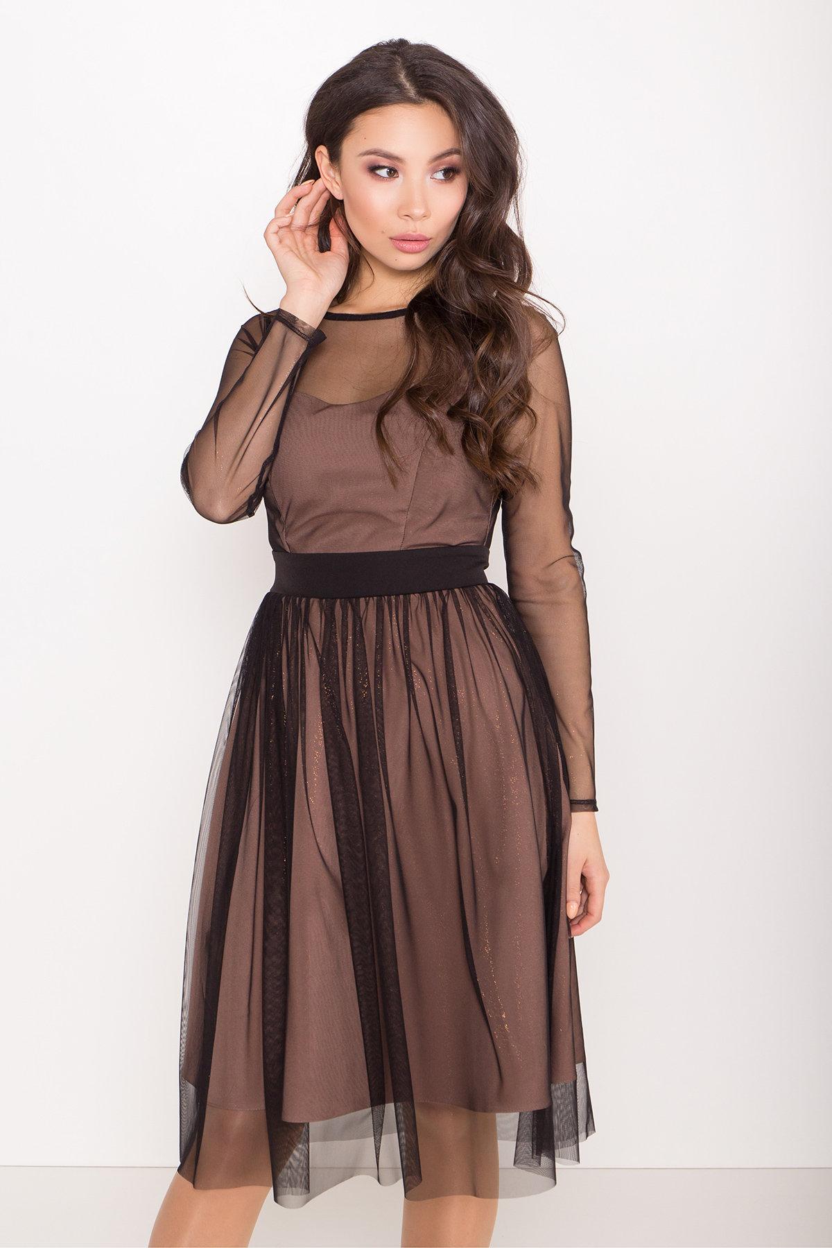 Платье миди длины с юбкой солнце-клеш Роял 8681 АРТ. 45006 Цвет: Черный/золото - фото 8, интернет магазин tm-modus.ru