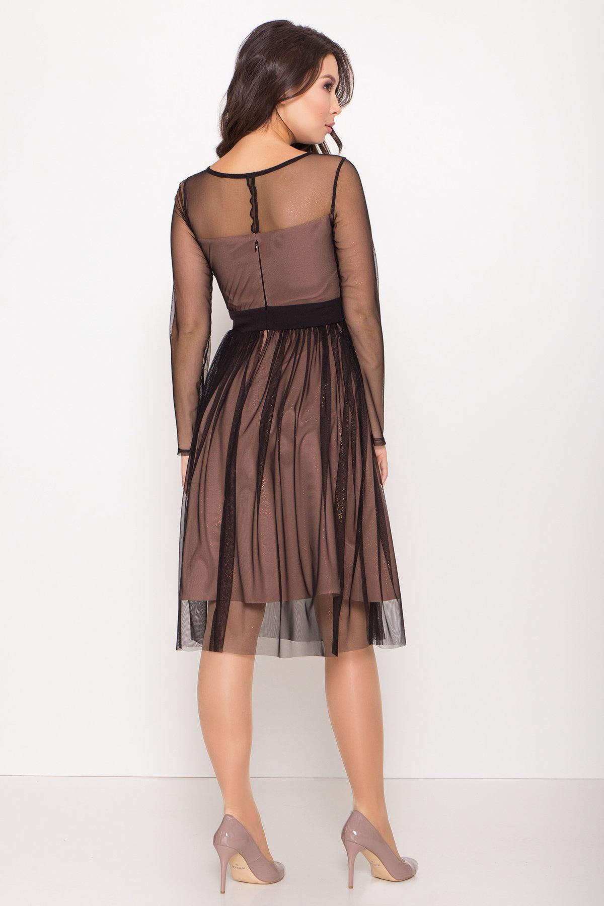 Платье миди длины с юбкой солнце-клеш Роял 8681 АРТ. 45006 Цвет: Черный/золото - фото 12, интернет магазин tm-modus.ru