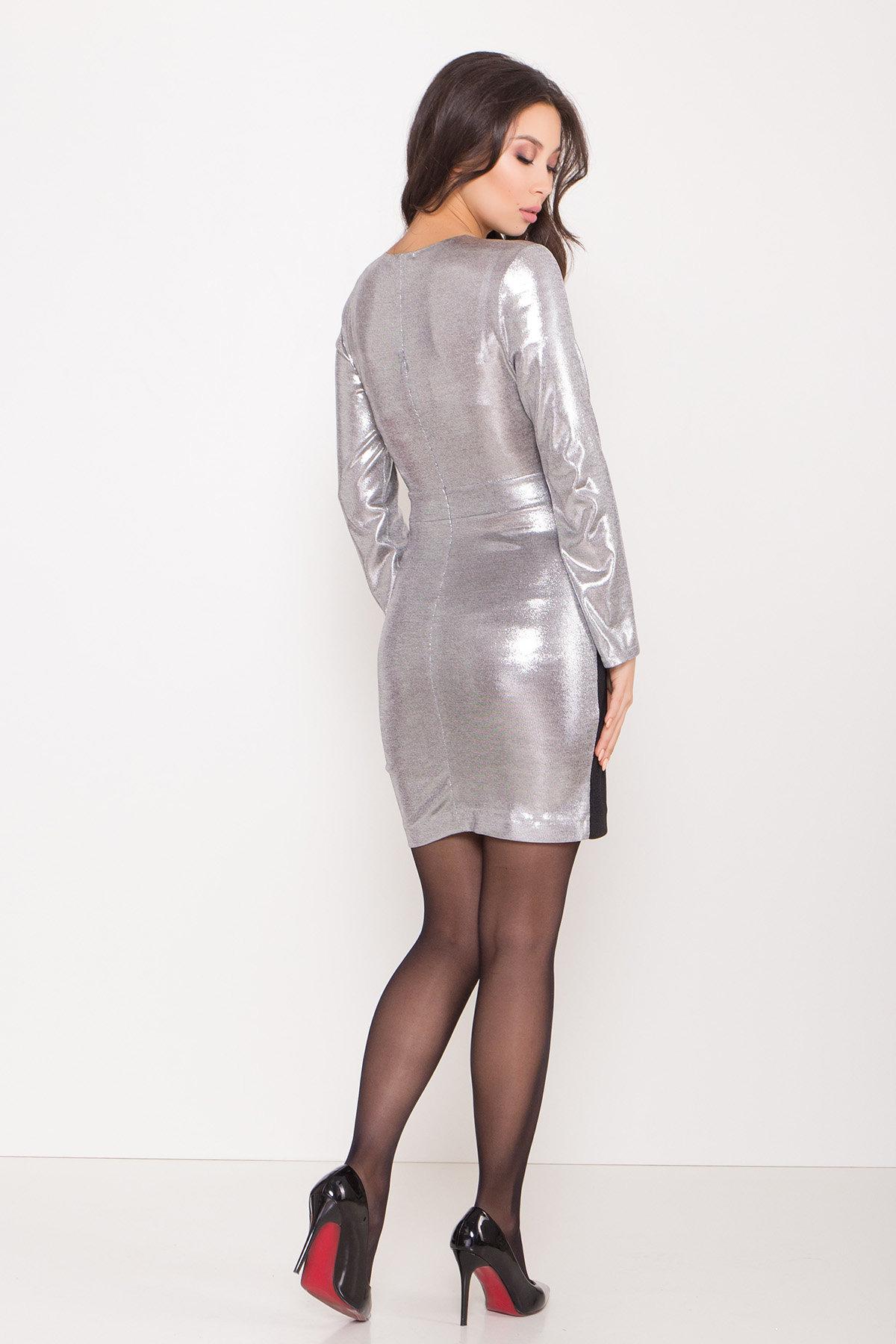Контрастное двухцветное платье Блеск 8679 АРТ. 45004 Цвет: Серый/серебро - фото 7, интернет магазин tm-modus.ru