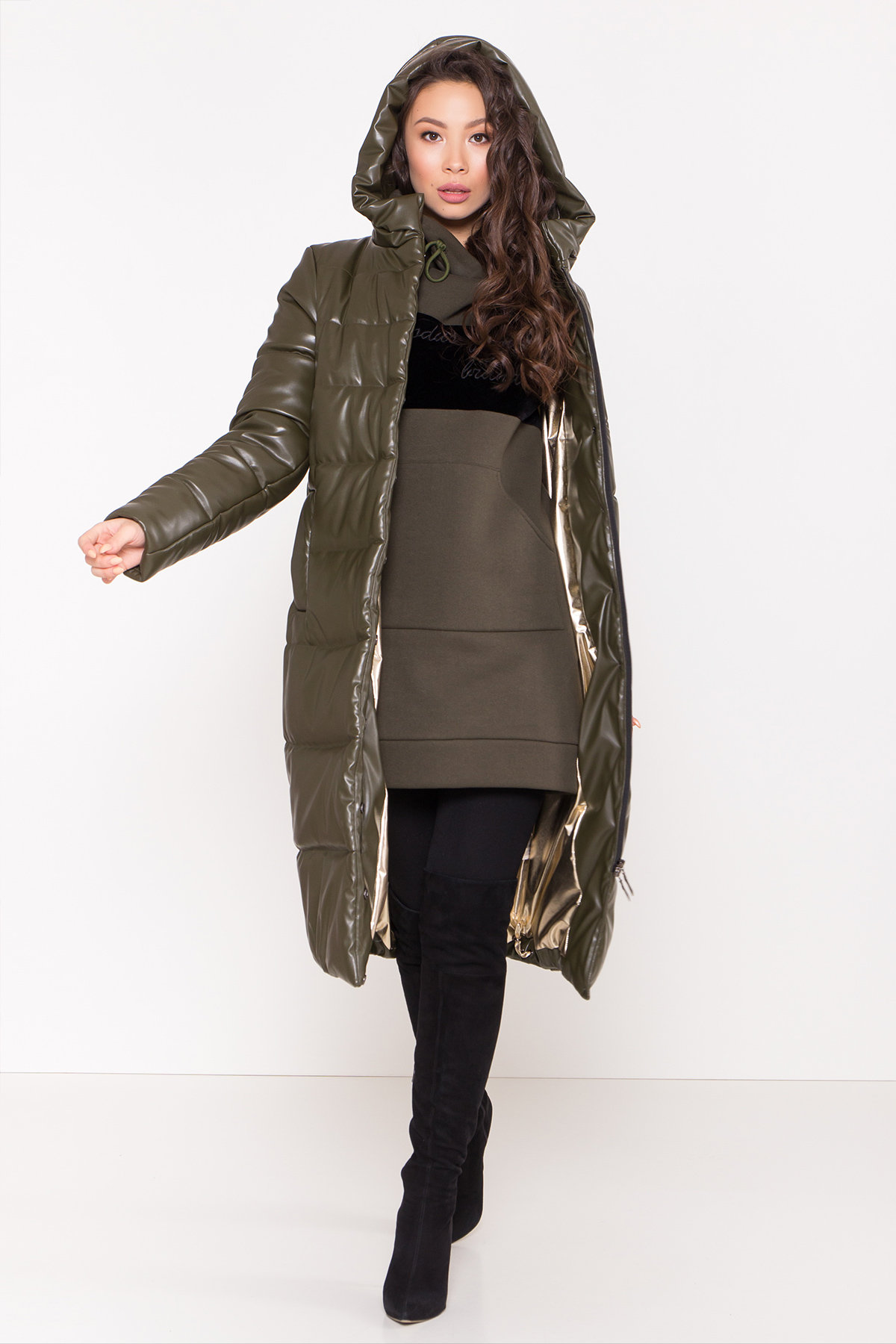 Платье худи Томми 8703 Цвет: Хаки/Черный