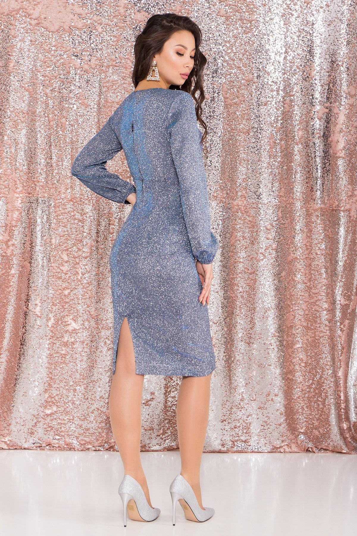 Нарядное платье с люрексом Фаселис 8527 АРТ. 45028 Цвет: Серебро/бирюза/электрик - фото 7, интернет магазин tm-modus.ru
