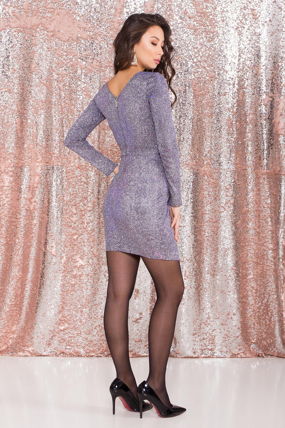 Коктейльное платье Кристал 8346 Цвет: Серебро/электрик/фиолет