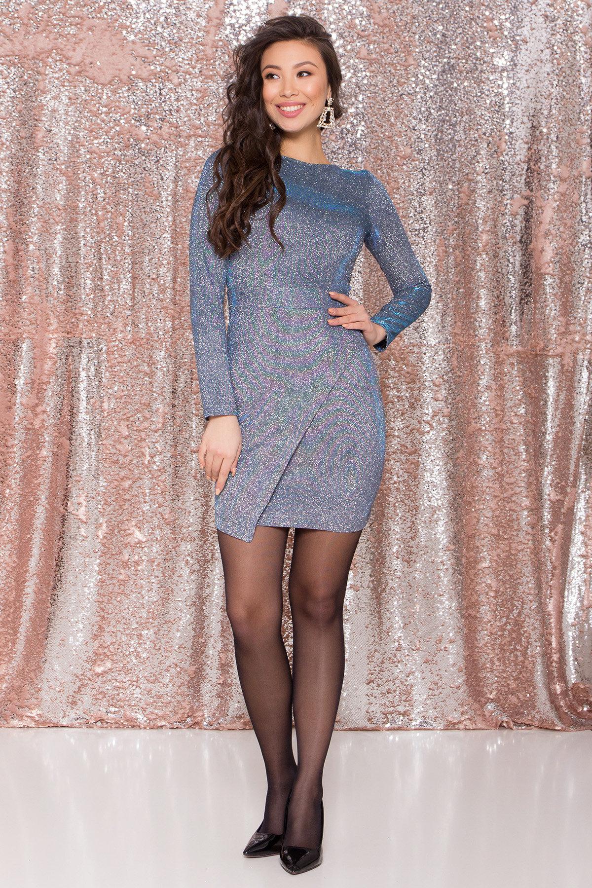 Коктейльное платье Кристал 8346 Цвет: Серебро/бирюза/электрик