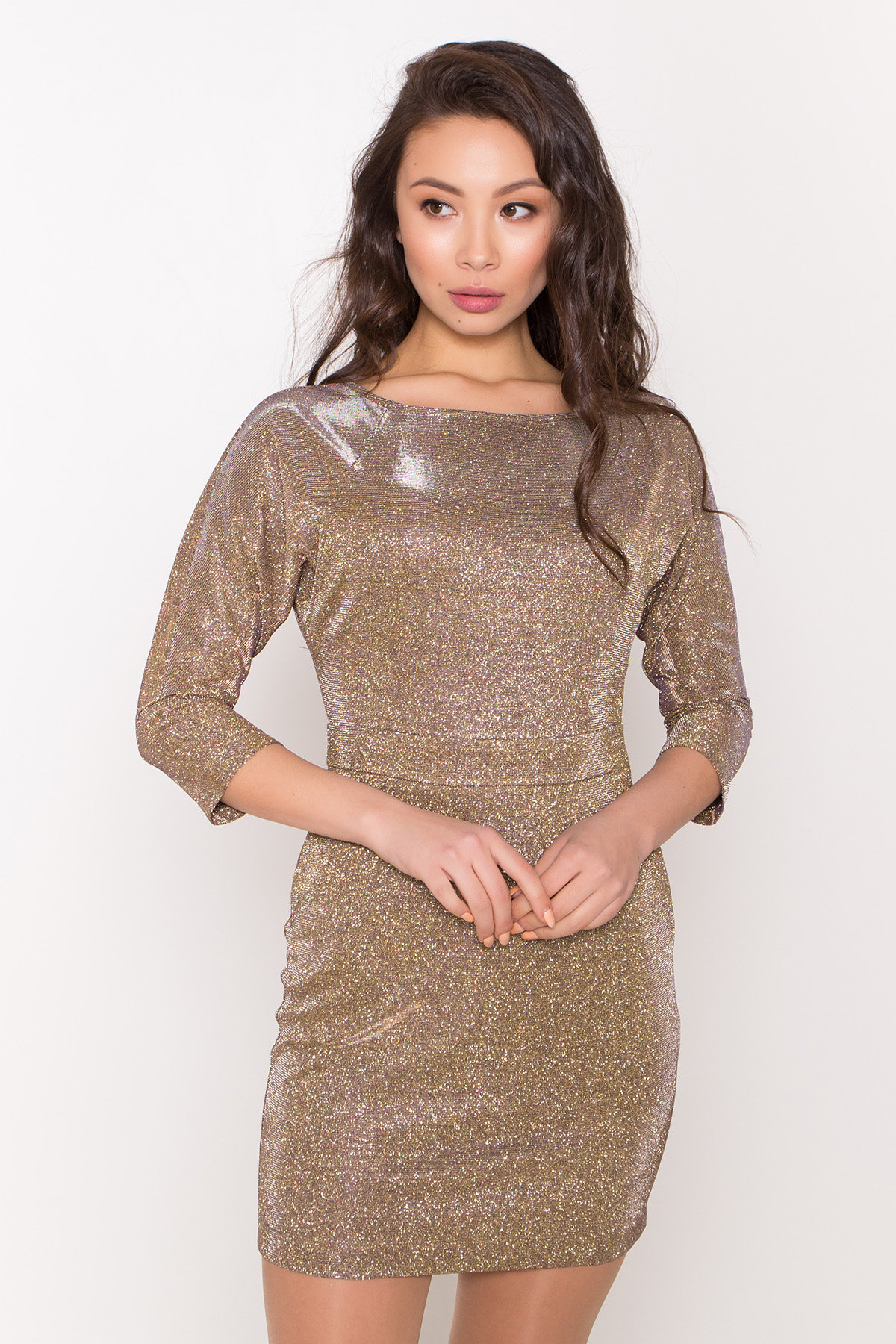 Платье-хамелеон из трикотажа с люрексом Инглот 8428 АРТ. 44863 Цвет: Золото/серебро - фото 6, интернет магазин tm-modus.ru