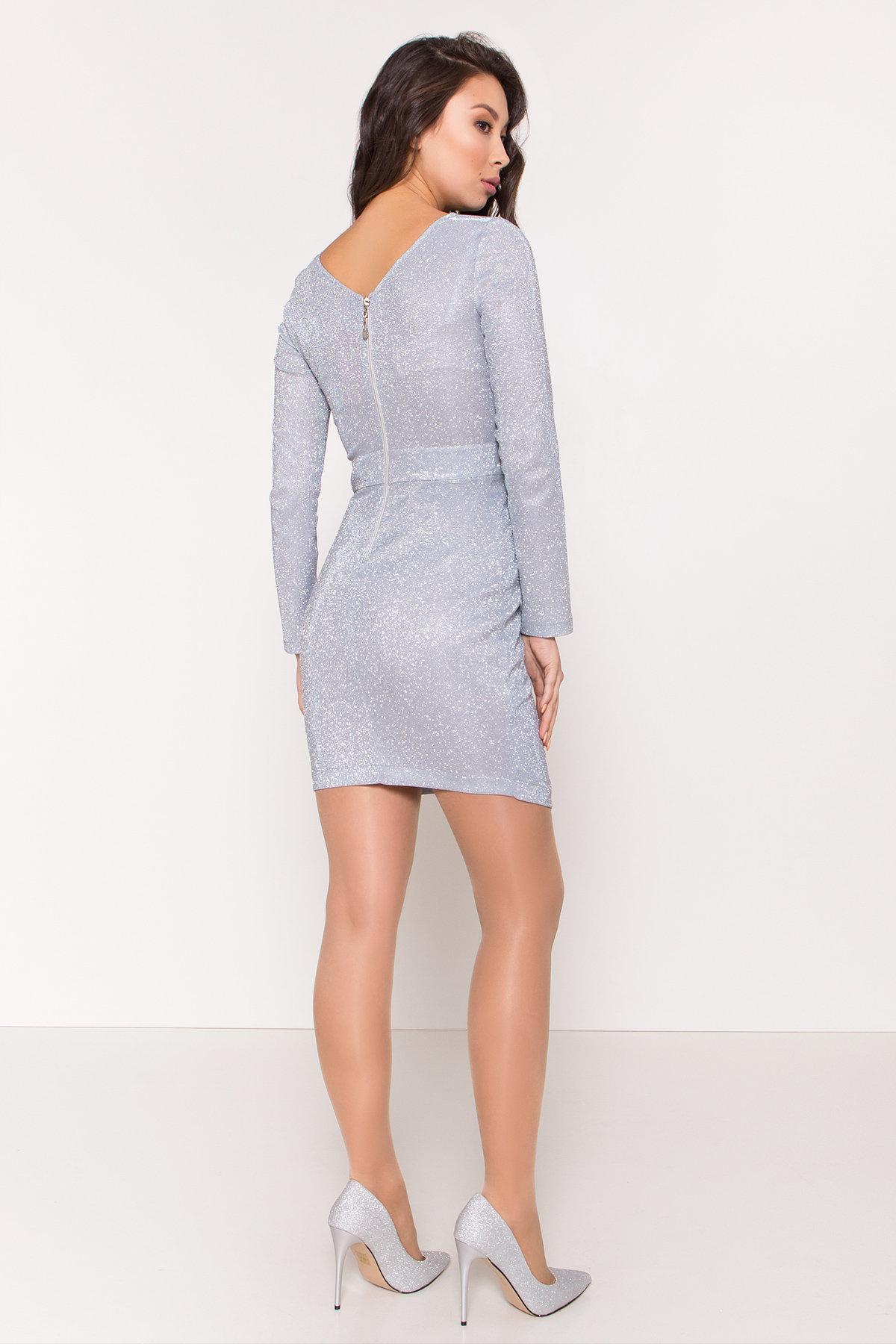 Коктейльное платье Кристал 8346 Цвет: Серебро/голубой