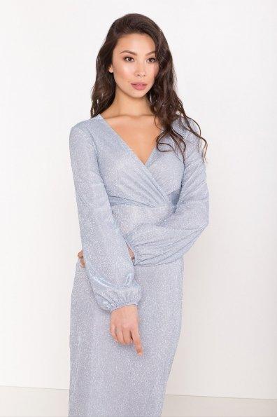 Нарядное платье с люрексом Фаселис 8527 Цвет: Серебро/голубой