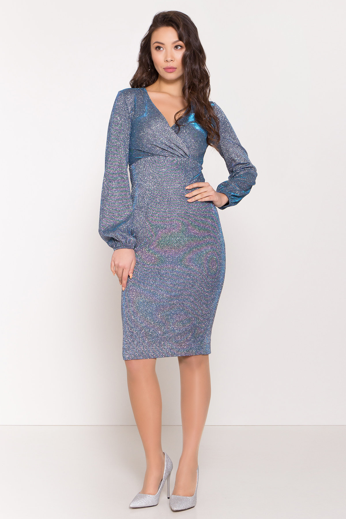 Нарядное платье с люрексом Фаселис 8527 АРТ. 45028 Цвет: Серебро/бирюза/электрик - фото 1, интернет магазин tm-modus.ru