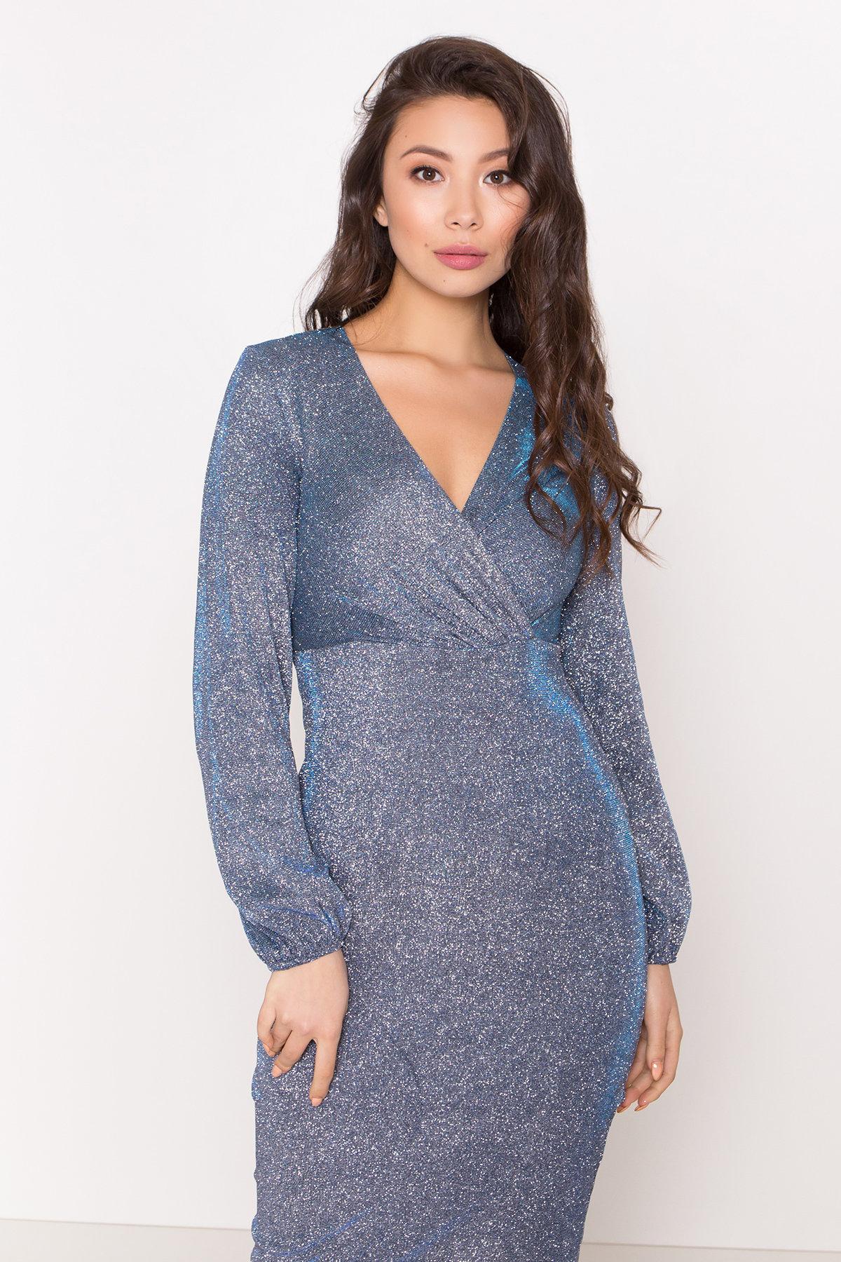 Нарядное платье с люрексом Фаселис 8527 АРТ. 45028 Цвет: Серебро/бирюза/электрик - фото 3, интернет магазин tm-modus.ru