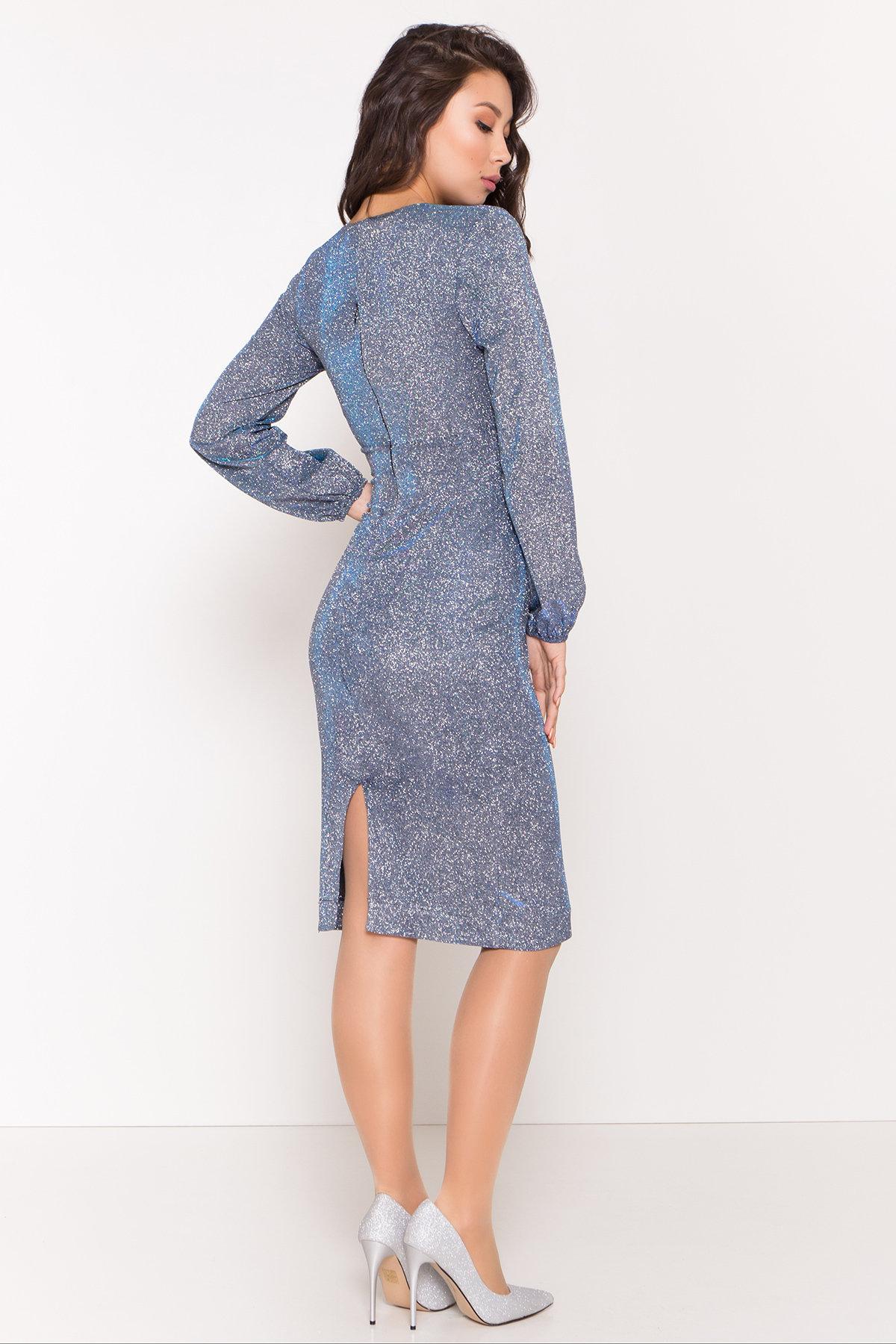 Нарядное платье с люрексом Фаселис 8527 АРТ. 45028 Цвет: Серебро/бирюза/электрик - фото 5, интернет магазин tm-modus.ru