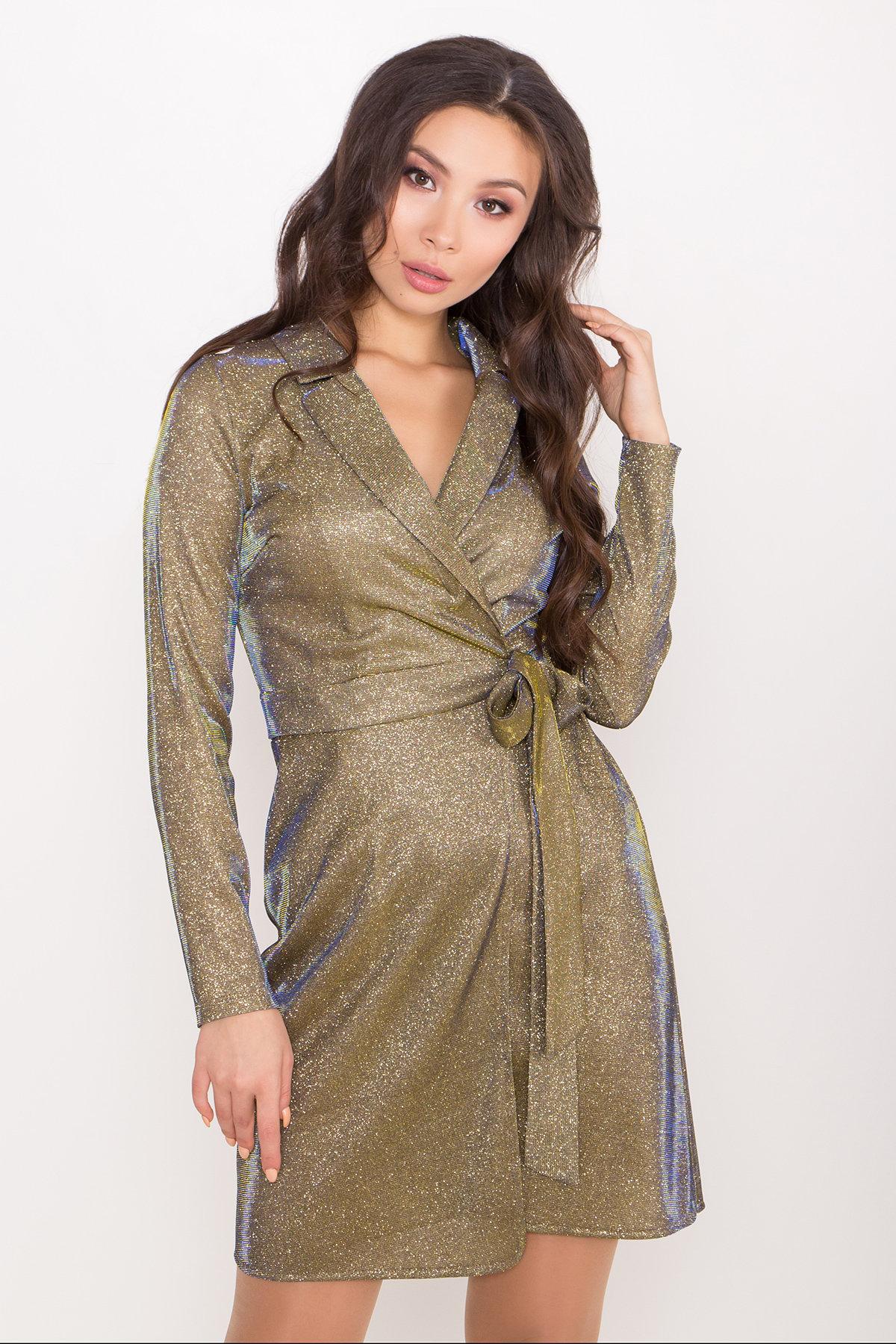 Платье Шати 8686 АРТ. 45015 Цвет: Золото/электрик - фото 3, интернет магазин tm-modus.ru