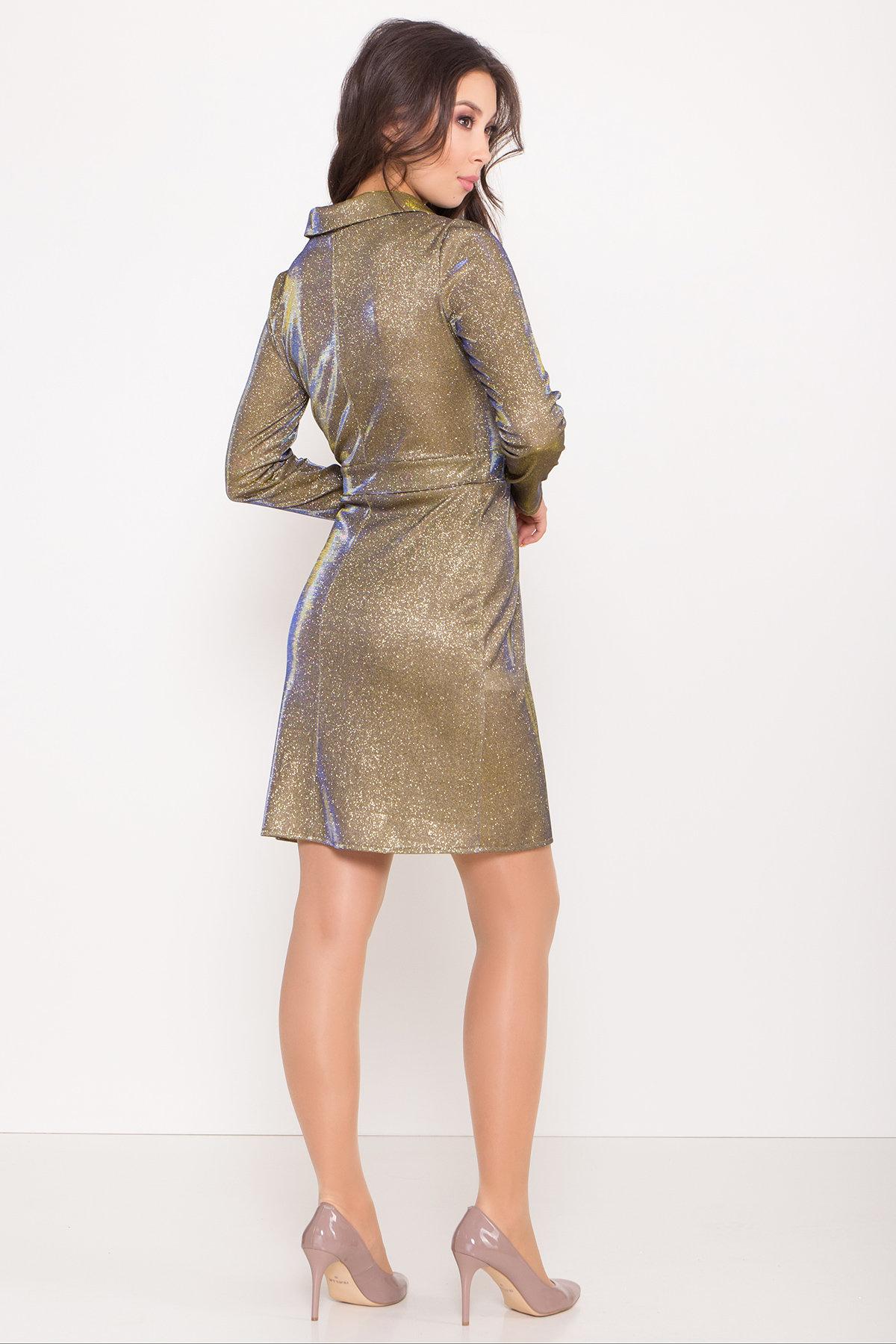 Платье Шати 8686 АРТ. 45015 Цвет: Золото/электрик - фото 5, интернет магазин tm-modus.ru