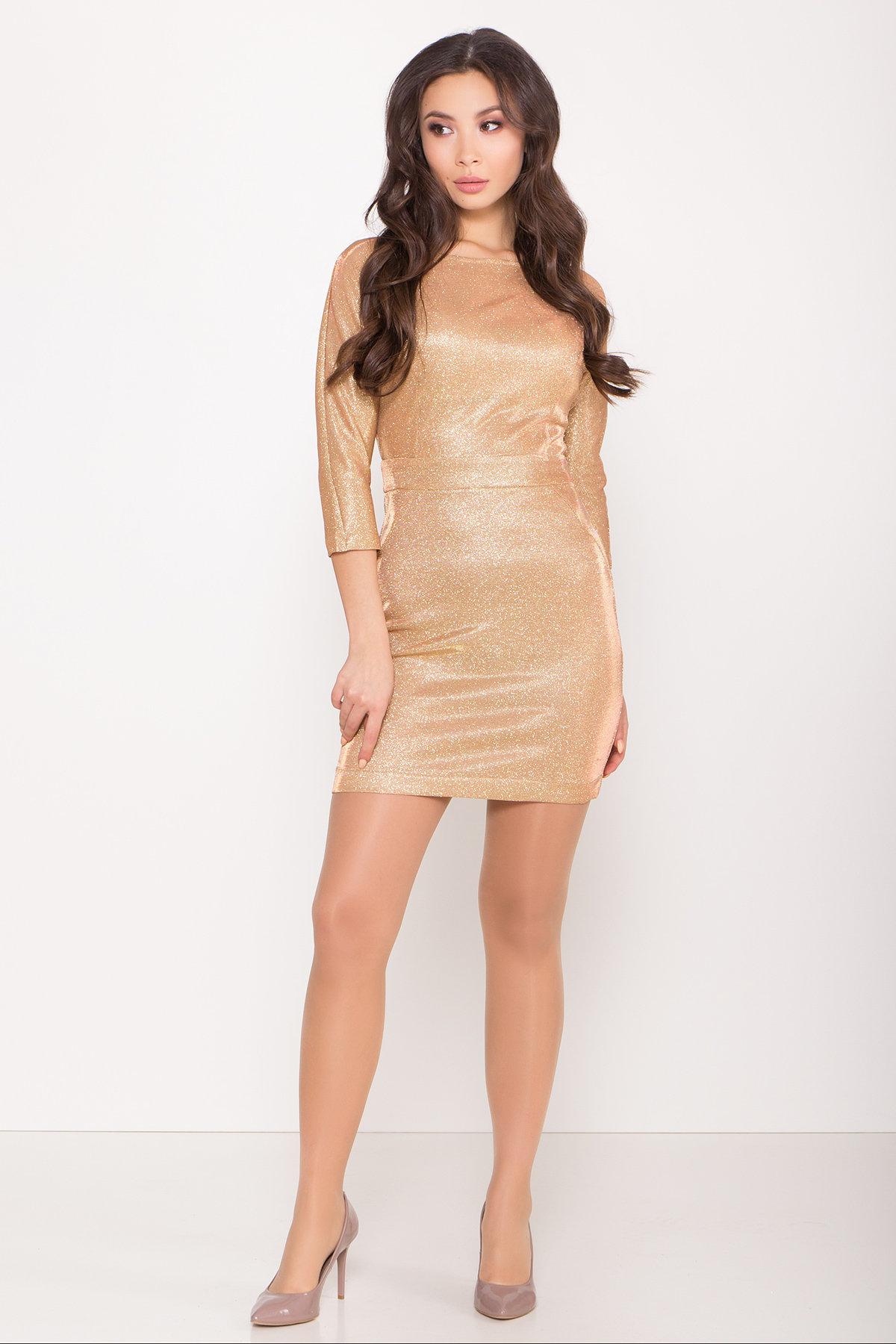 Платье-хамелеон из трикотажа с люрексом Инглот 8428 АРТ. 45008 Цвет: Золото/розовый - фото 1, интернет магазин tm-modus.ru