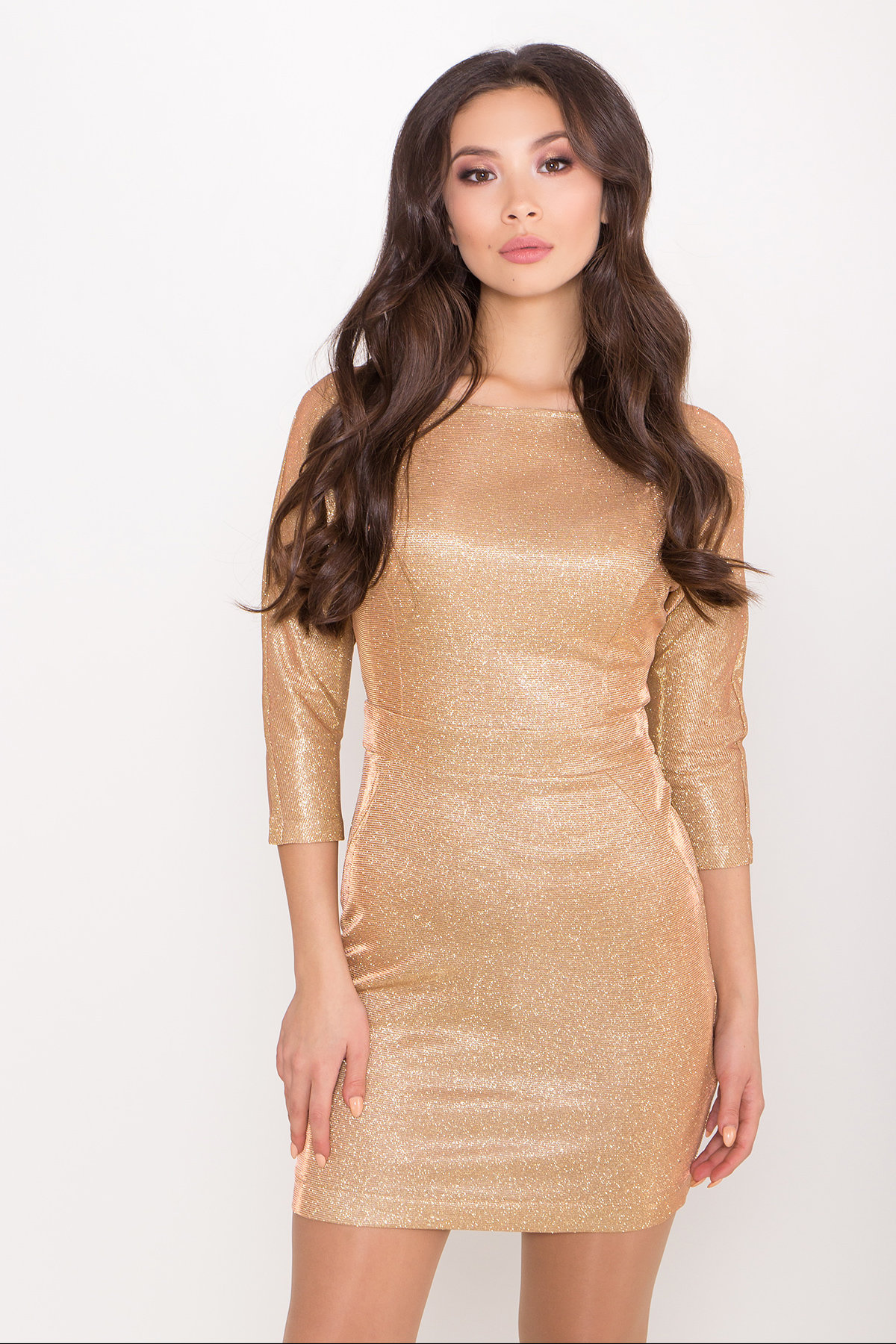 Платье-хамелеон из трикотажа с люрексом Инглот 8428 АРТ. 45008 Цвет: Золото/розовый - фото 3, интернет магазин tm-modus.ru