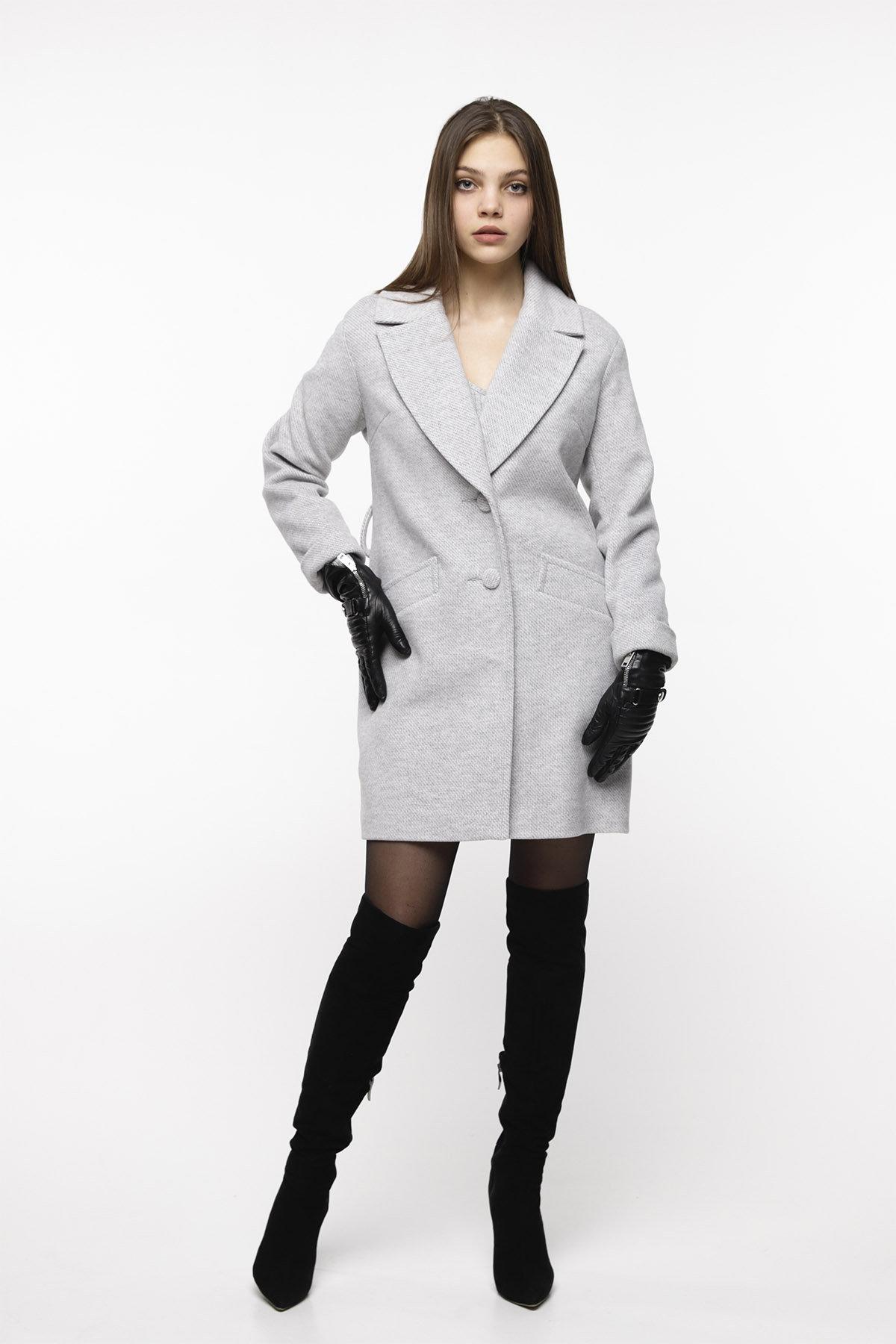 Кашемировое пальто Вейсона 8803 АРТ. 45140 Цвет: Светло серый - фото 1, интернет магазин tm-modus.ru