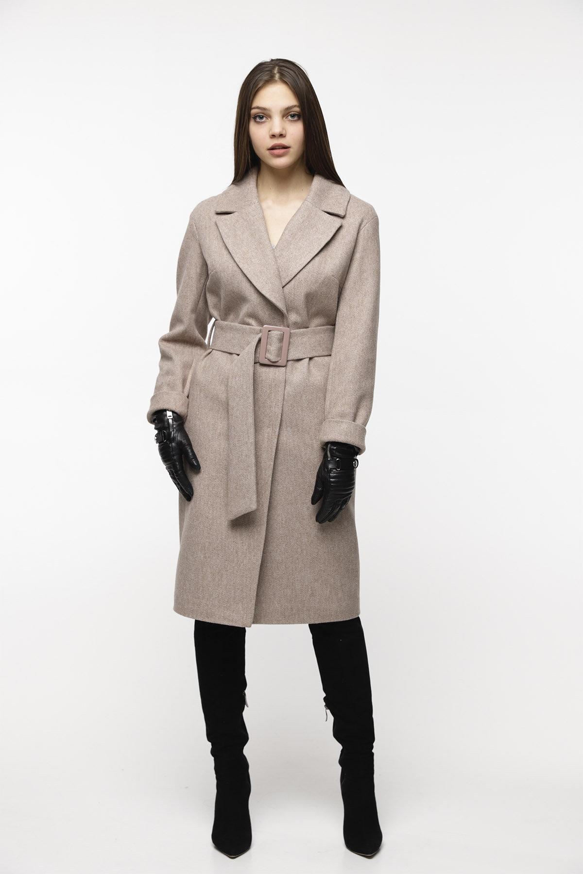 Демисезонное пальто купить Демисезонное пальто бежевого цвета Севен 8757