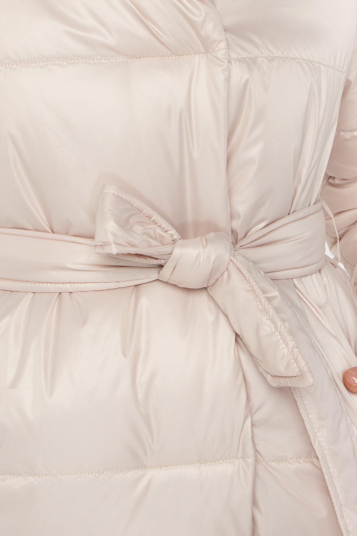 Лаковая куртка пуховик с поясом Бумер 8832 Цвет: Бежевый