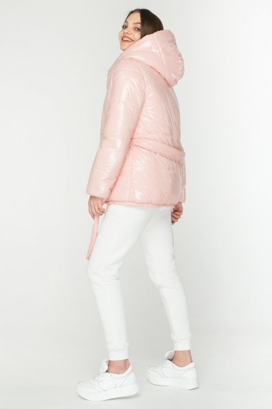 Лаковая куртка пуховик с поясом Бумер 8696 Цвет: цветы пудра темная