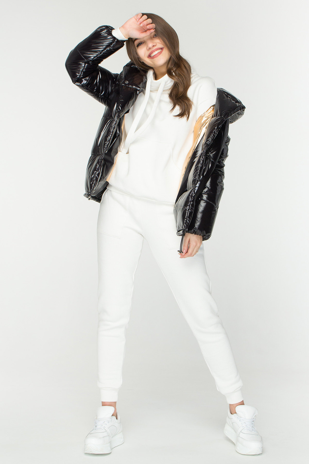 Лаковая куртка пуховик с поясом Бумер 8696 АРТ. 45155 Цвет: Черный - фото 1, интернет магазин tm-modus.ru