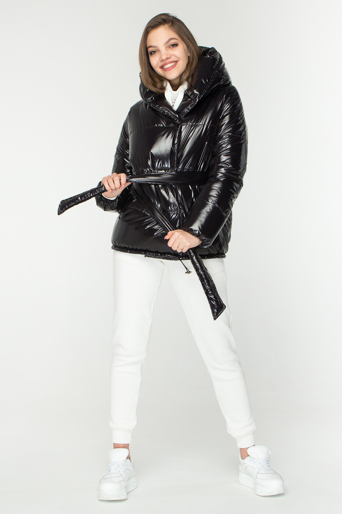 Лаковая куртка пуховик с поясом Бумер 8696 АРТ. 45155 Цвет: Черный - фото 2, интернет магазин tm-modus.ru