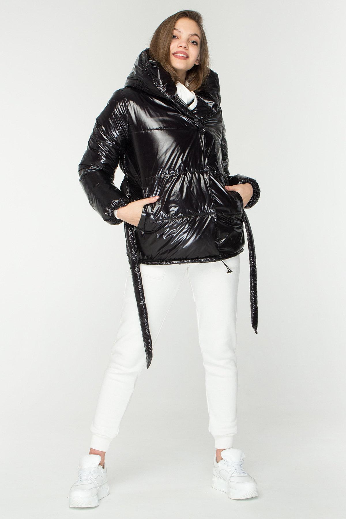Лаковая куртка пуховик с поясом Бумер 8696 АРТ. 45155 Цвет: Черный - фото 3, интернет магазин tm-modus.ru