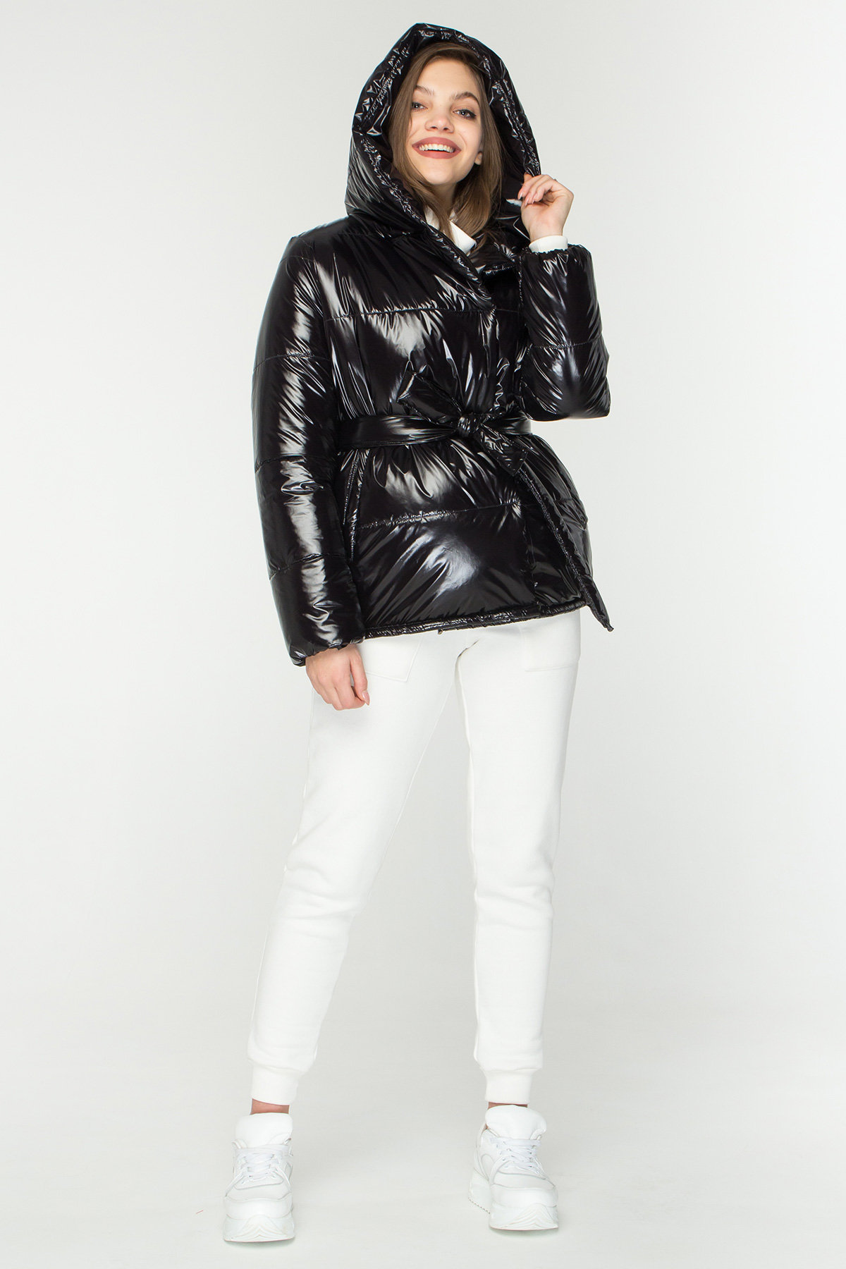 куртки оптом Харьков Лаковая куртка пуховик с поясом Бумер 8696