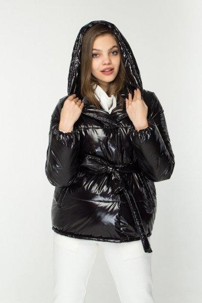 Лаковая куртка пуховик с поясом Бумер 8696 Цвет: Черный