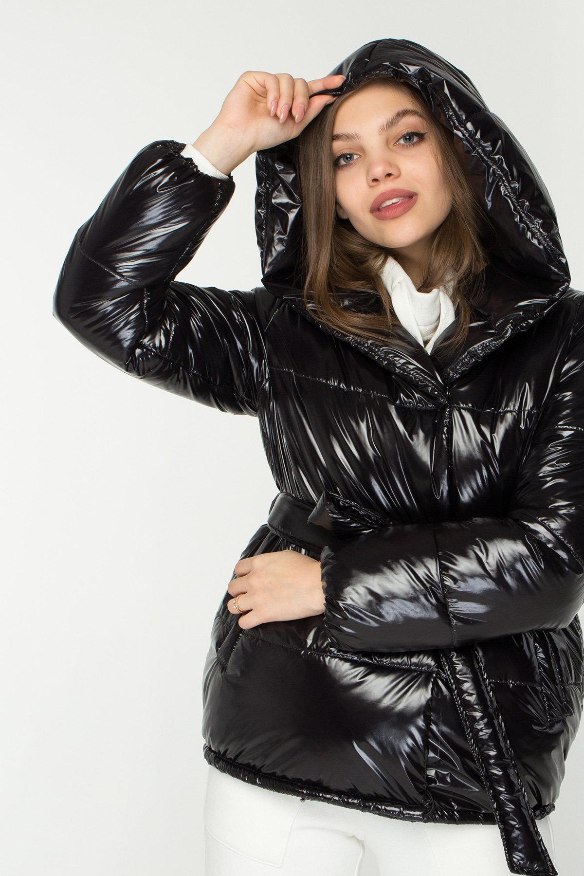 Лаковая куртка пуховик с поясом Бумер 8696 АРТ. 45155 Цвет: Черный - фото 6, интернет магазин tm-modus.ru