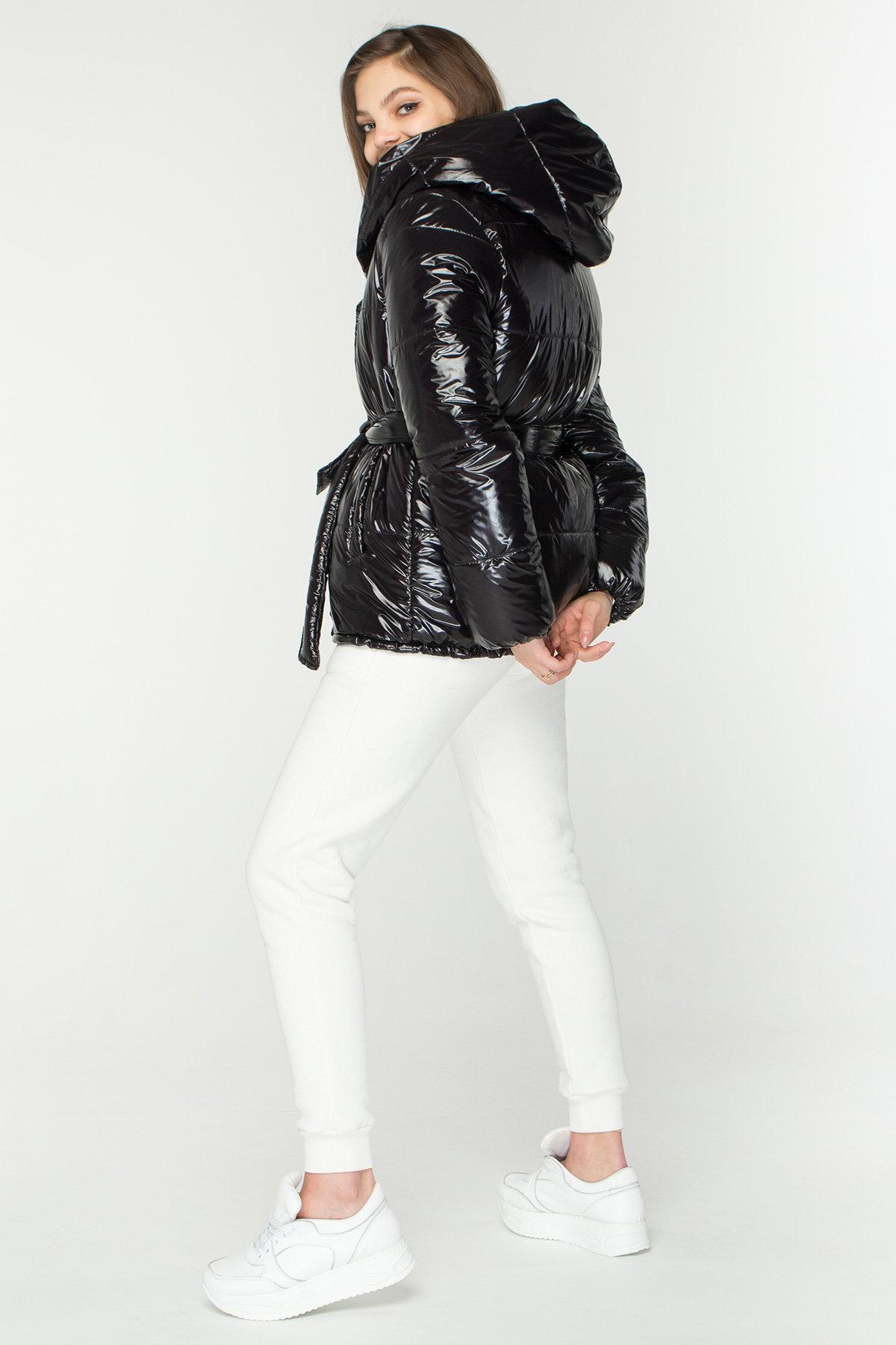 Лаковая куртка пуховик с поясом Бумер 8696 АРТ. 45155 Цвет: Черный - фото 7, интернет магазин tm-modus.ru