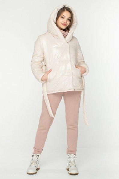Лаковая куртка пуховик с поясом Бумер 8696 Цвет: светло бежевый