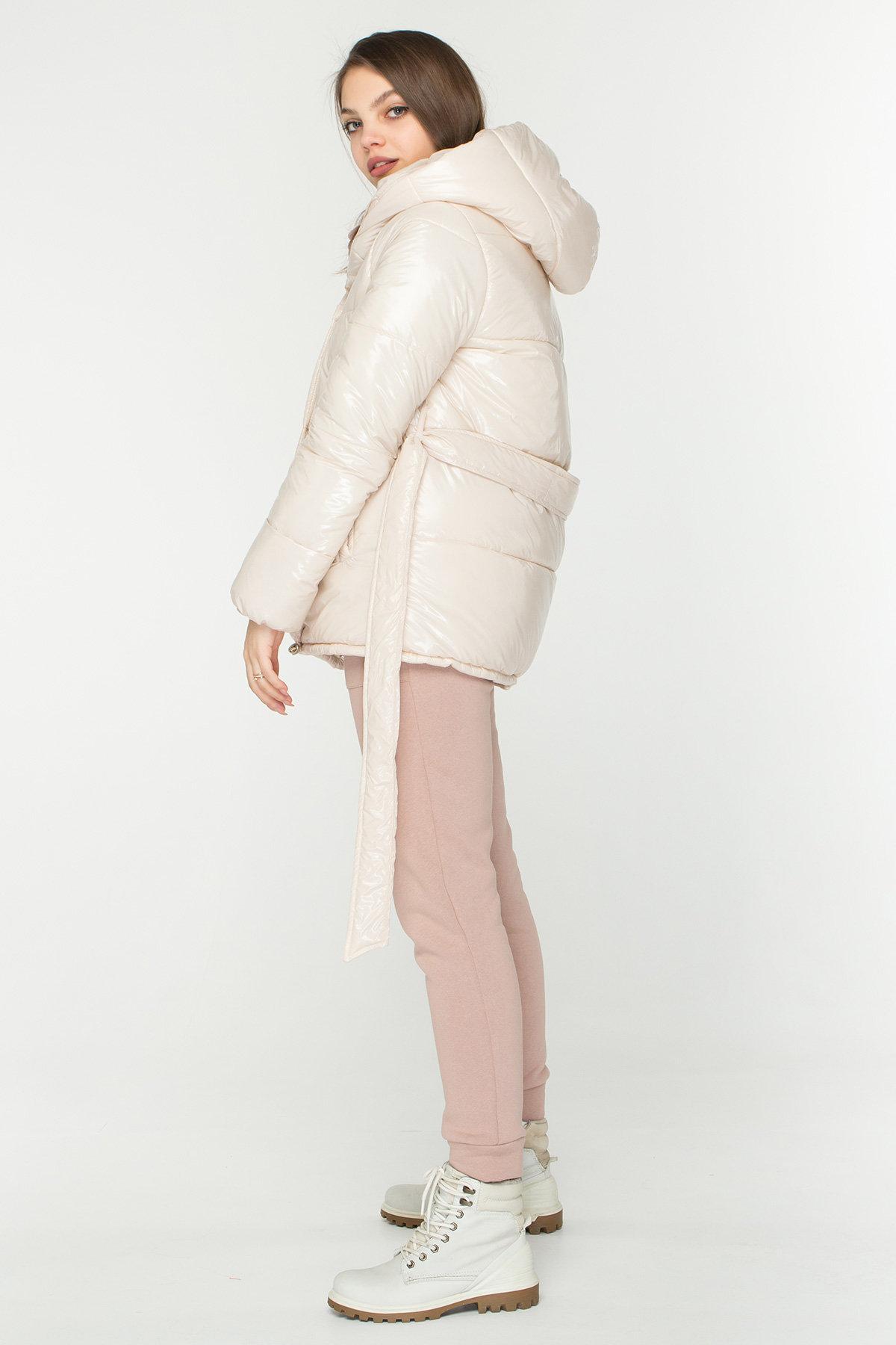 Лаковая куртка пуховик с поясом Бумер 8696 АРТ. 45156 Цвет: светло бежевый - фото 6, интернет магазин tm-modus.ru