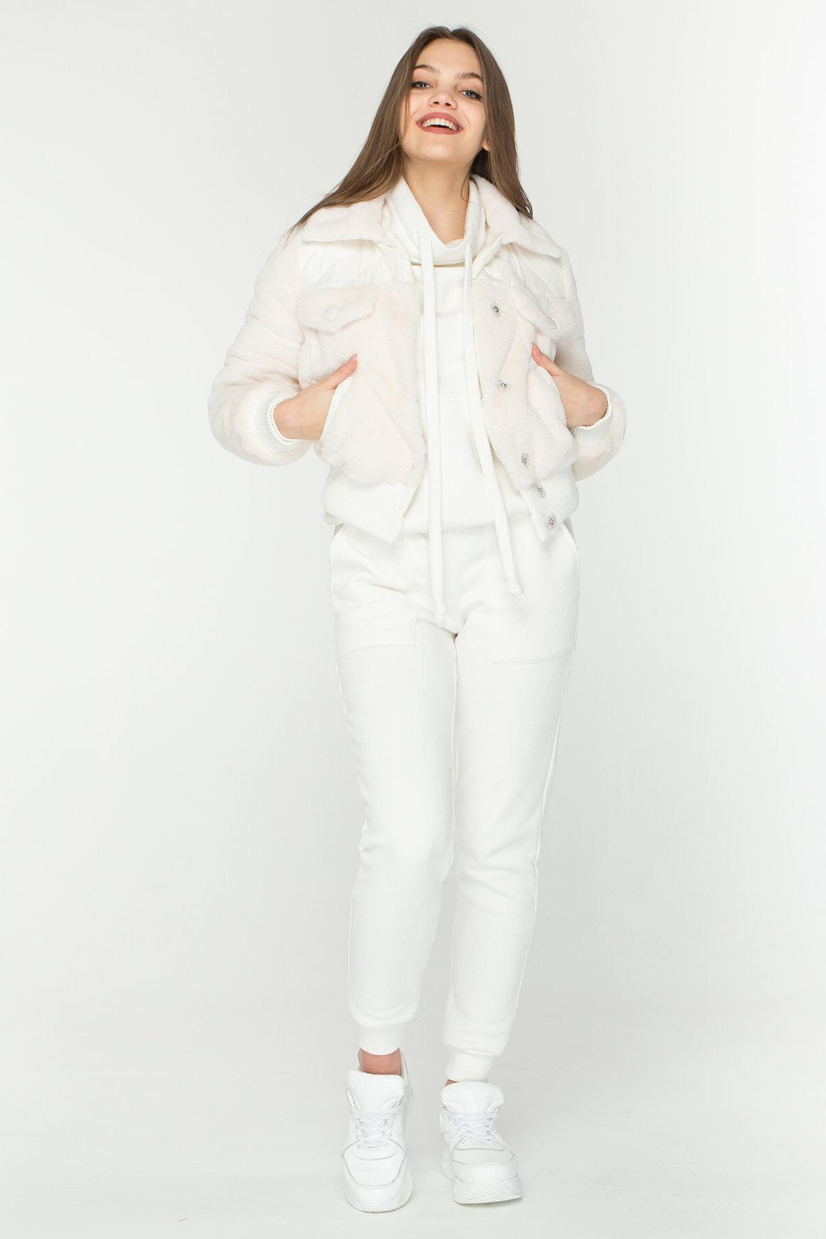 Стильная куртка бомбер Рино 8720 АРТ. 45171 Цвет: Молоко - фото 1, интернет магазин tm-modus.ru