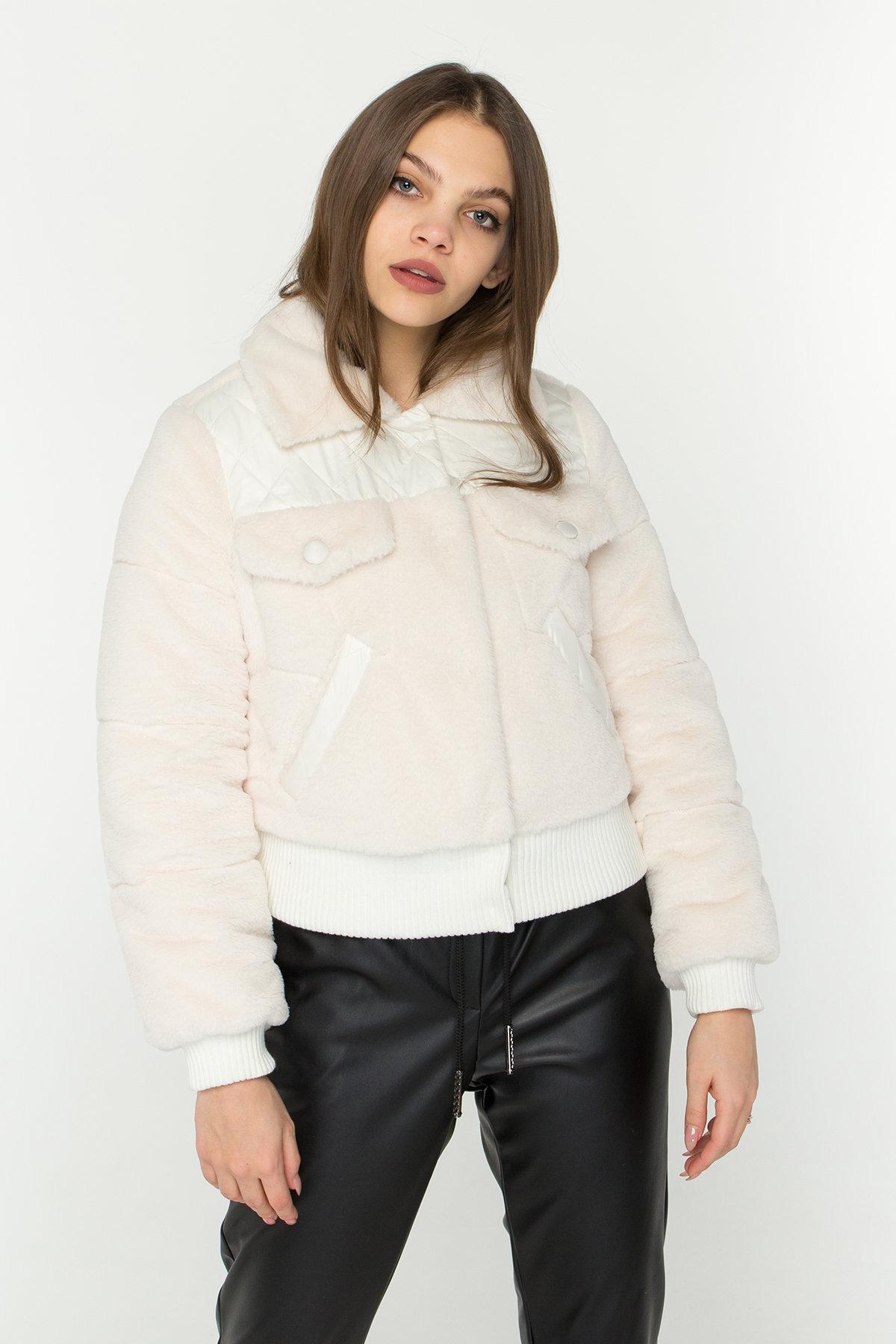 Стильная куртка бомбер Рино 8720 АРТ. 45171 Цвет: Молоко - фото 5, интернет магазин tm-modus.ru